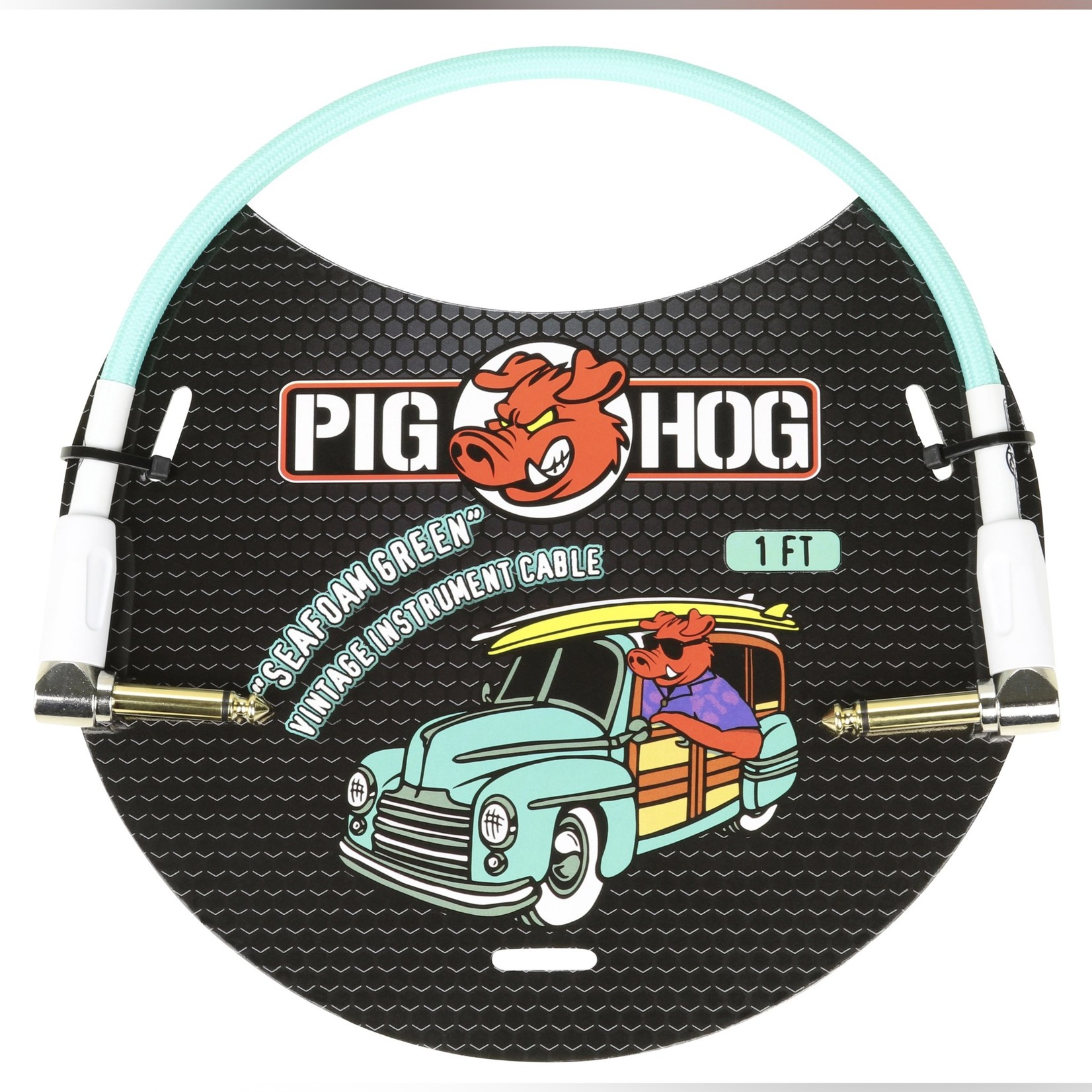 Pig Hog Pig Hog Vintage Woven Patch Cable, 1-Foot, 7mm, Right-Angle Connectors, Seafoam Green (PCH1SGR)
