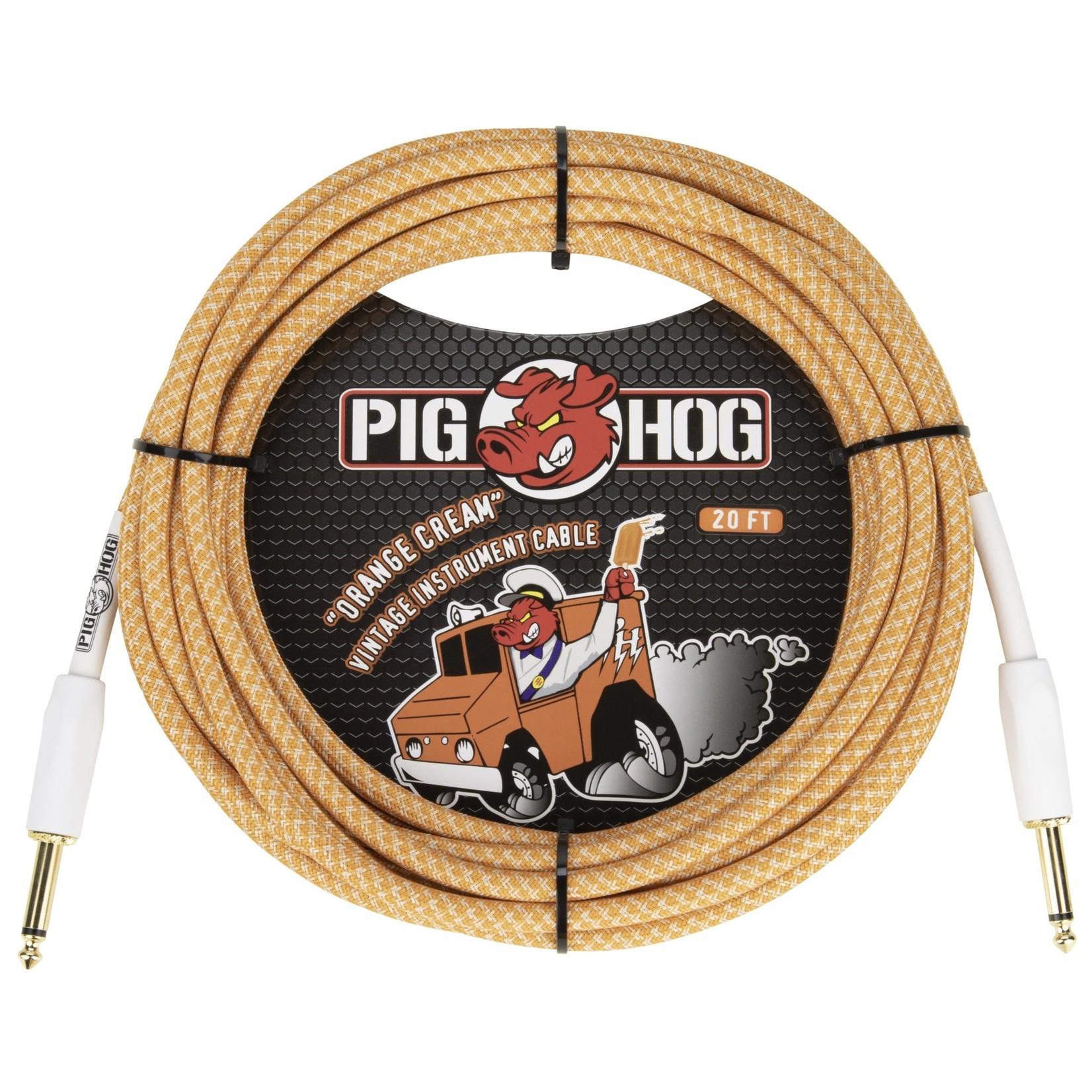 "Pig Hog Pig Hog Orange Cream v. 2.0 Tour Grade Vintage Woven Instrument Cable, 20ft, 1/4"" Straight TS (2020)"