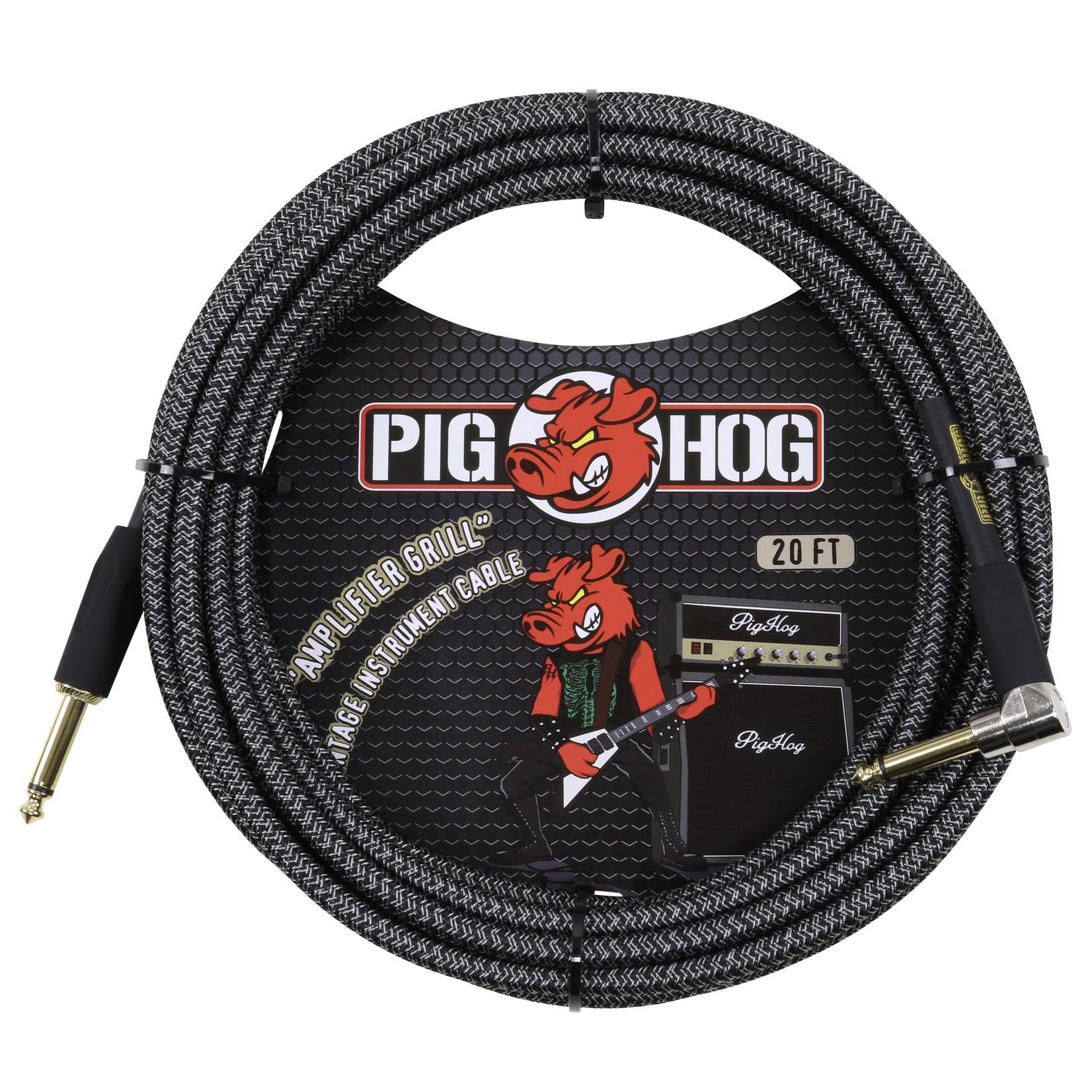 "Pig Hog Pig Hog ""Amplifier Grill"" (Black/Silver) Vintage Woven 20-ft Instrument Cable, 1/4""-1/4"" Rt Angle"