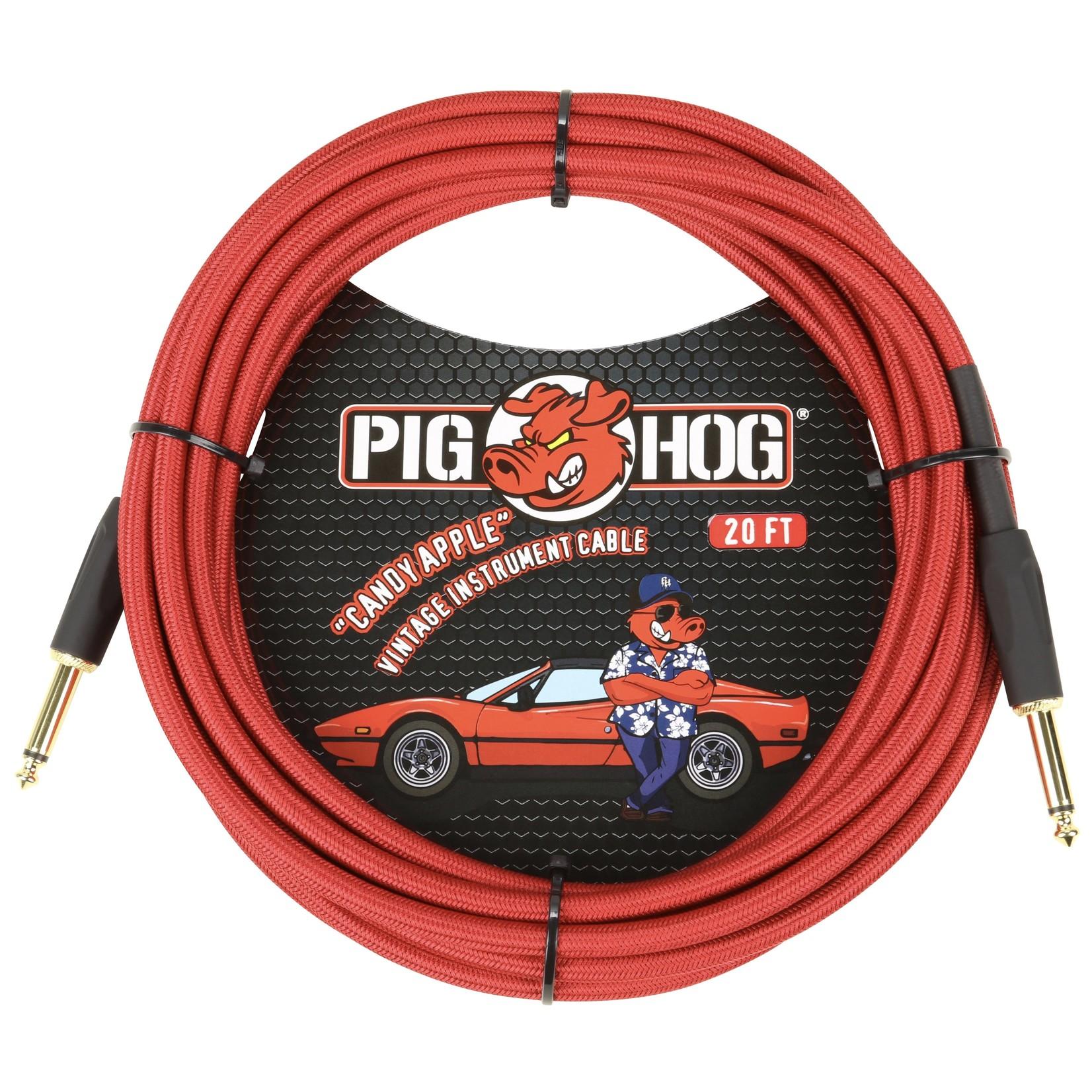 "Pig Hog Pig Hog ""Candy Apple Red"" Vintage Instrument Cable, 20ft Straight (PCH20CA)"