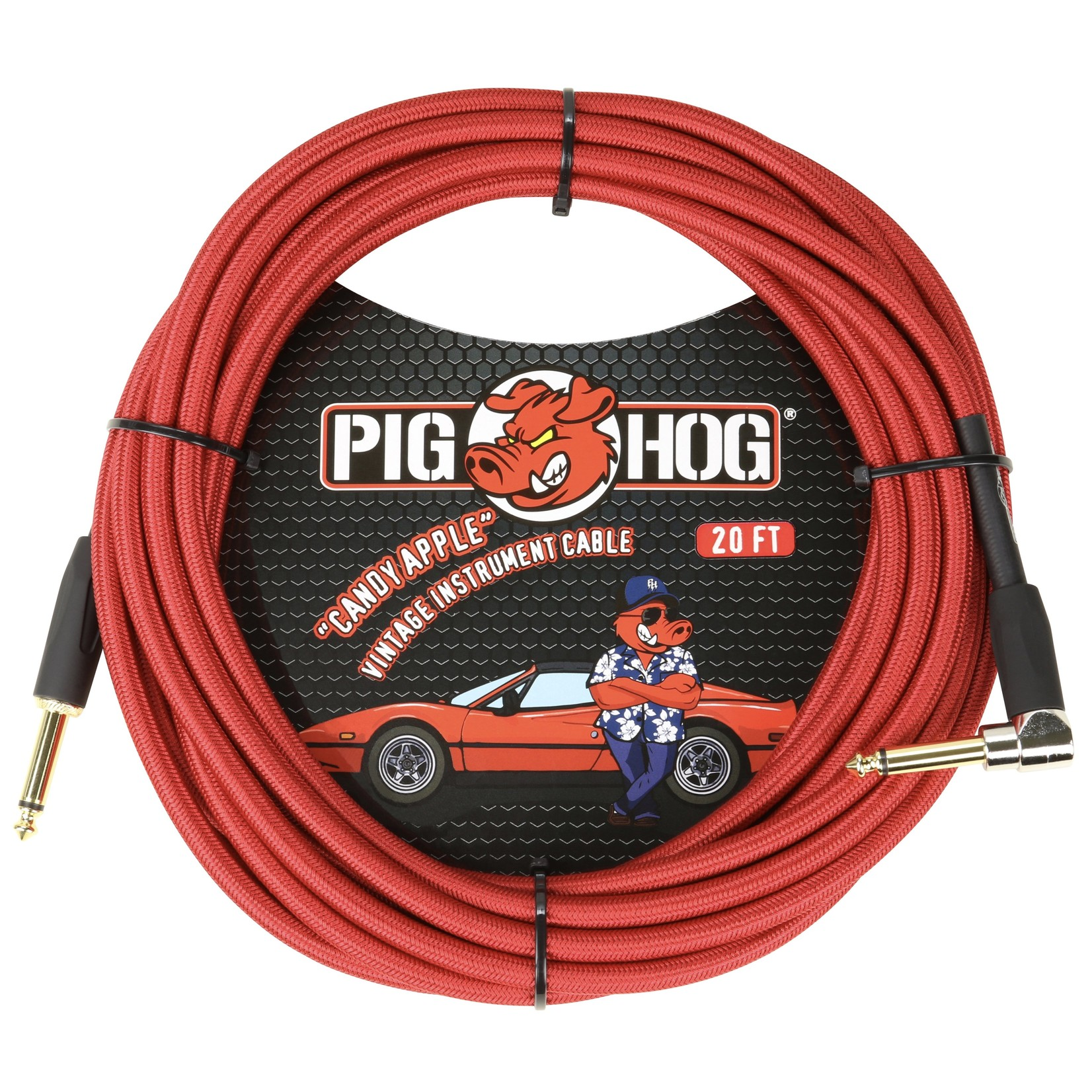 """Pig Hog Pig Hog """"Candy Apple Red"""" Vintage Instrument Cable, 20ft Right Angle (PCH20CAR)"""