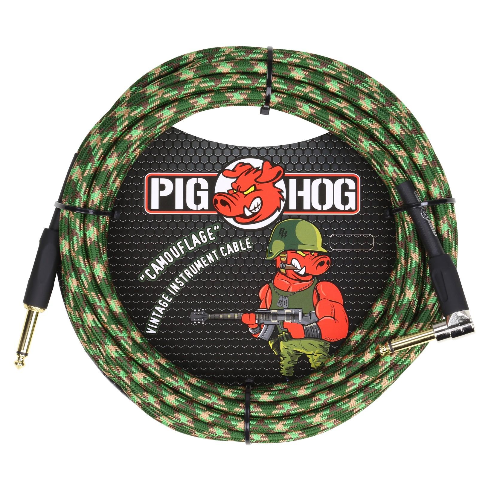 """Pig Hog Pig Hog """"Camouflage"""" Vintage Instrument Cable, 20ft Right Angle (PCH20CFR)"""