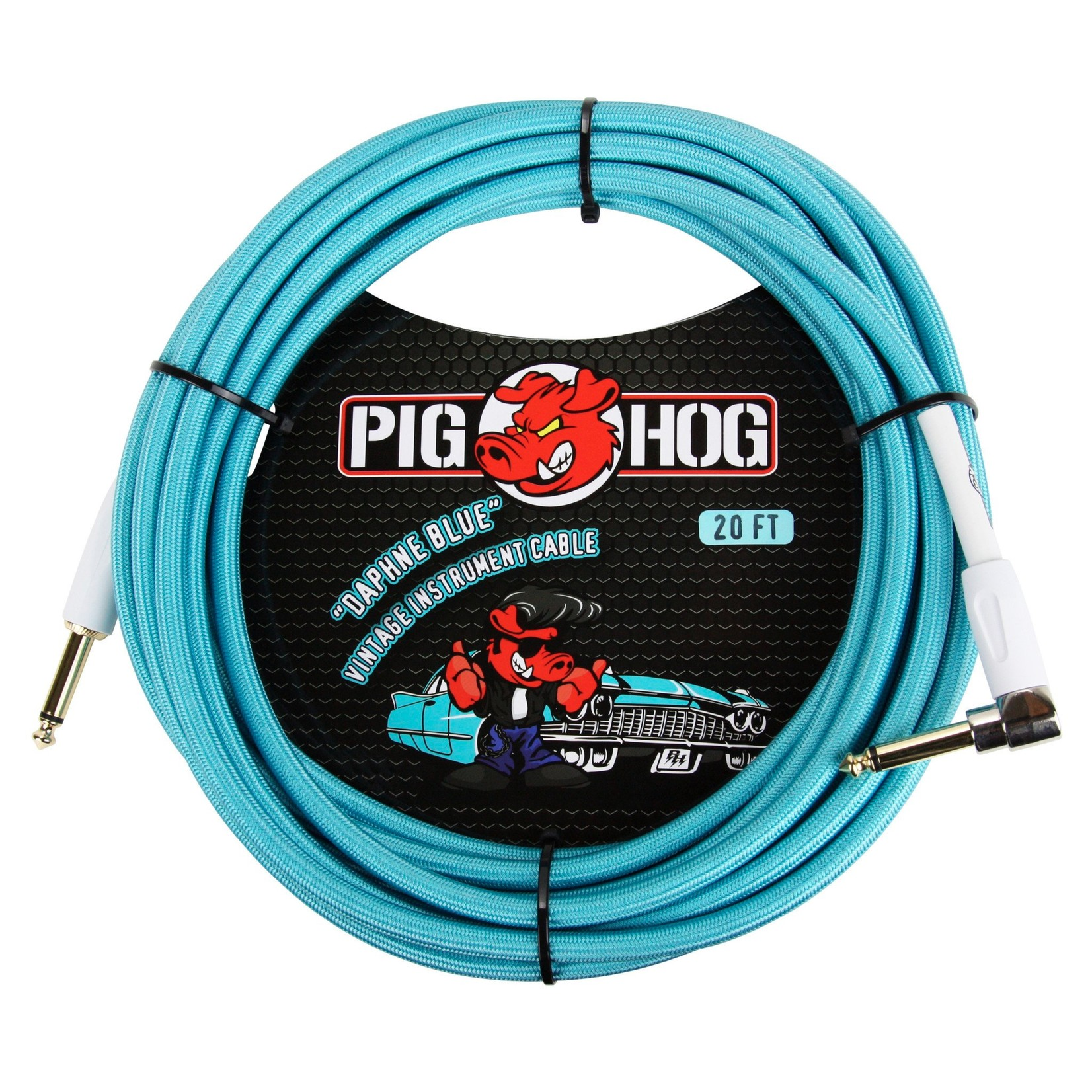 "Pig Hog Pig Hog ""Daphne Blue"" 20-Foot Vintage Instrument Cable - Right Angle (PCH20DBR)"
