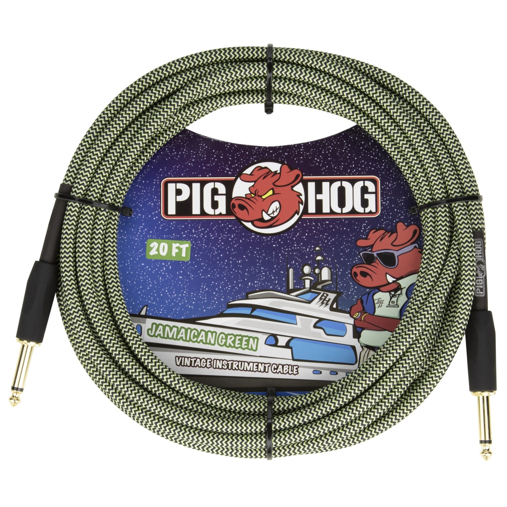 """Pig Hog Pig Hog 20-Foot Vintage Woven Instrument Cable, 1/4"""" Straight-Straight, Jamaican Green"""