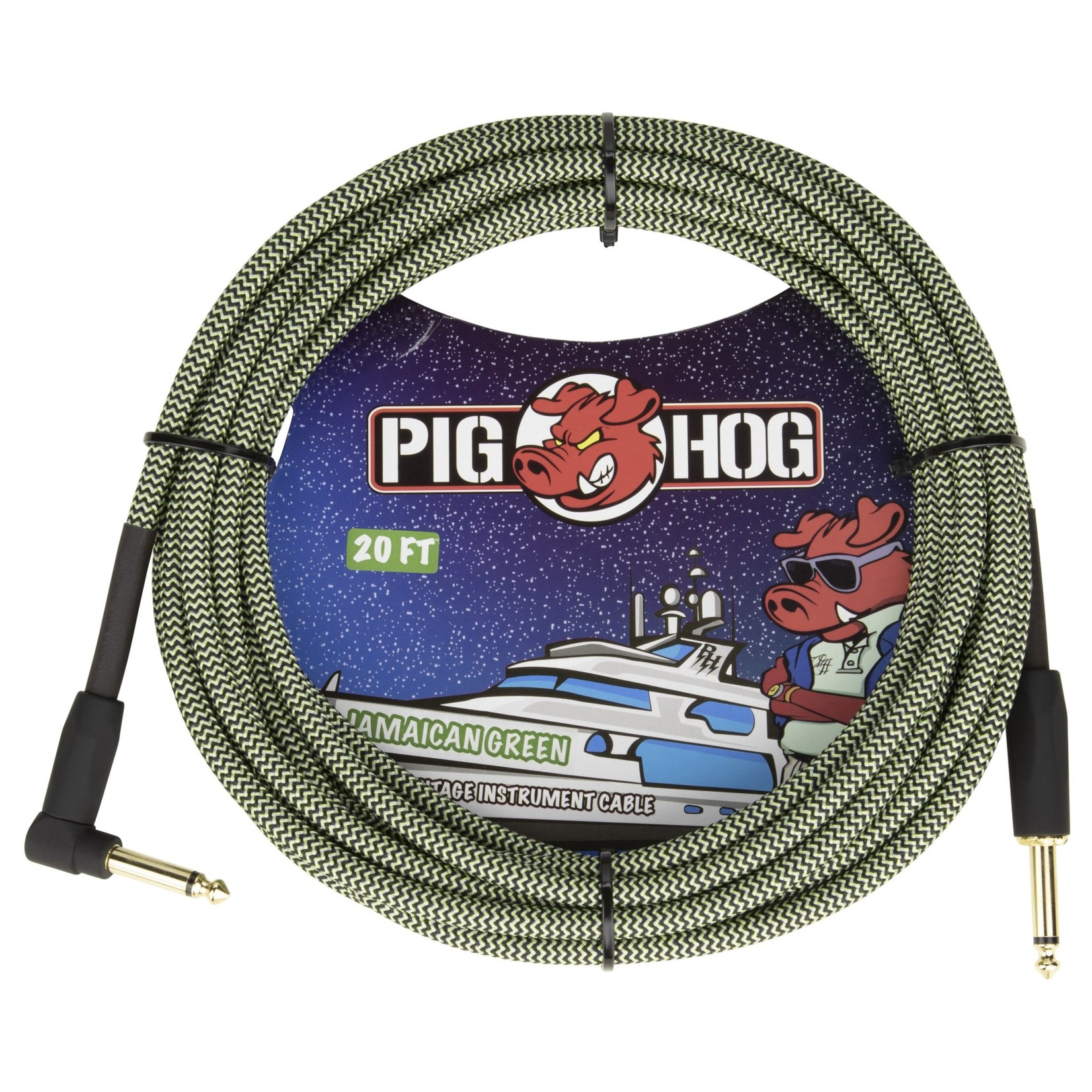 "Pig Hog Pig Hog 20-Foot Vintage Woven Instrument Cable, 1/4"" Straight-Right Angle, Jamaican Green - New 2020"