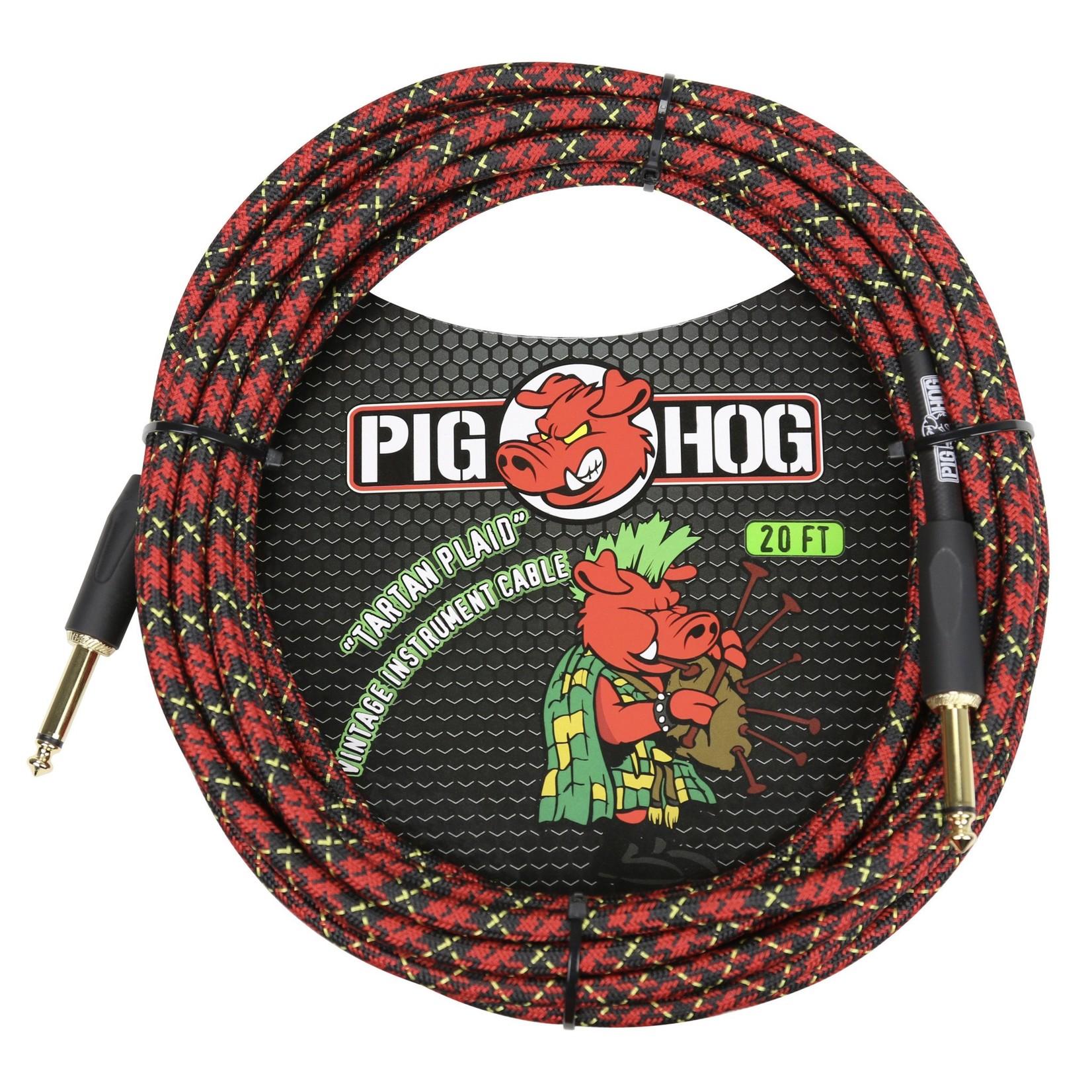 "Pig Hog Pig Hog ""Tartan Plaid"" Vintage Woven Instrument Cable, 20 Ft - 1/4"" Straight Plugs"
