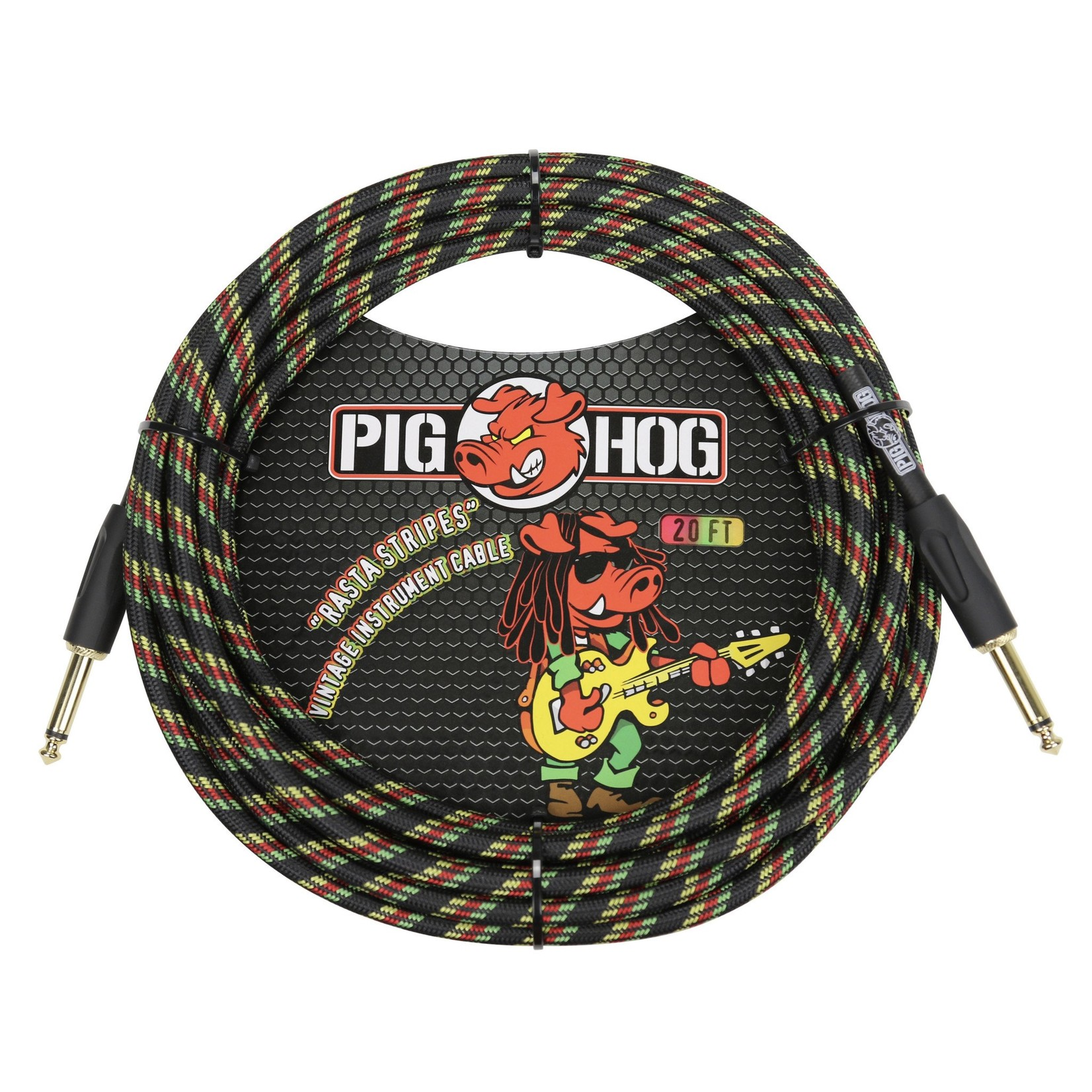 "Pig Hog Pig Hog ""Rasta Stripes"" 20-foot Vintage Woven Instrument Cable - 1/4"" Straight Plugs, Reggae"