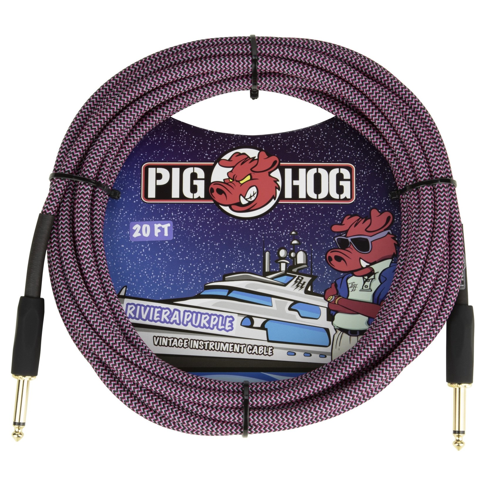 "Pig Hog Pig Hog 20-Foot Vintage Woven Instrument Cable, 1/4"" Straight-Straight Riviera Purple - New 2020!"