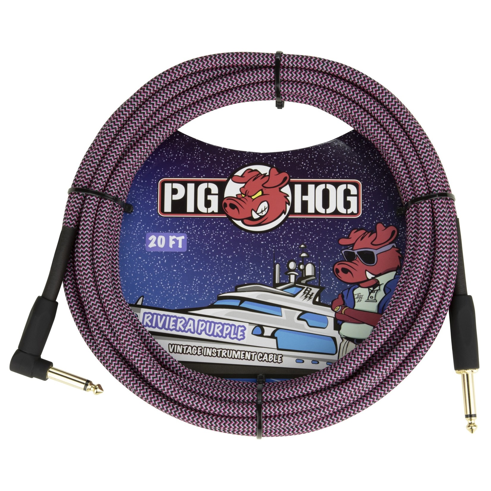 "Pig Hog Pig Hog 20-Foot Vintage Woven Instrument Cable, 1/4"" Straight-Right Angle, Riviera Purple - New 2020"