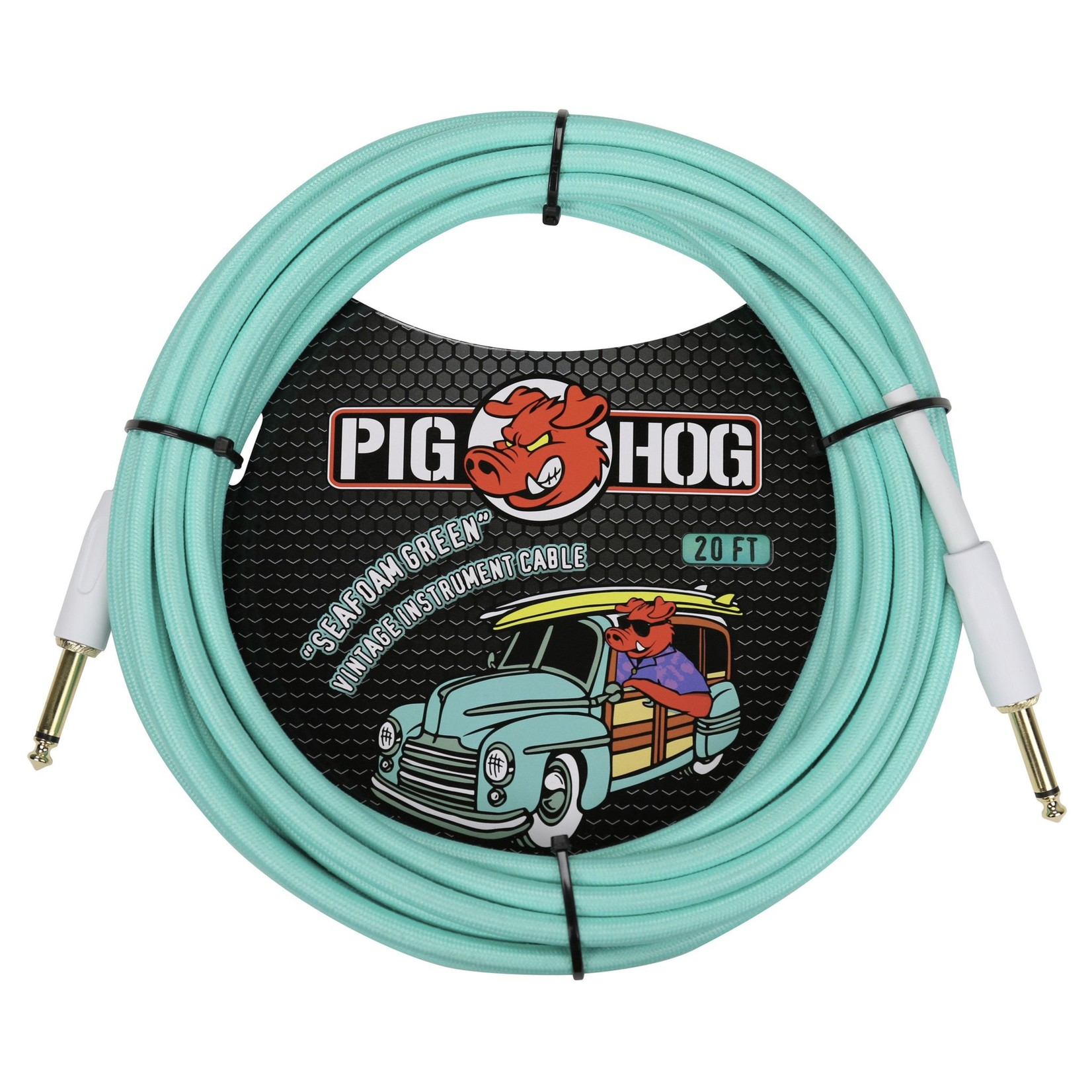 """Pig Hog Pig Hog 20-Foot """"Seafoam Green"""" Vintage Woven Instrument Cable - Straight Plugs (PCH20SG)"""