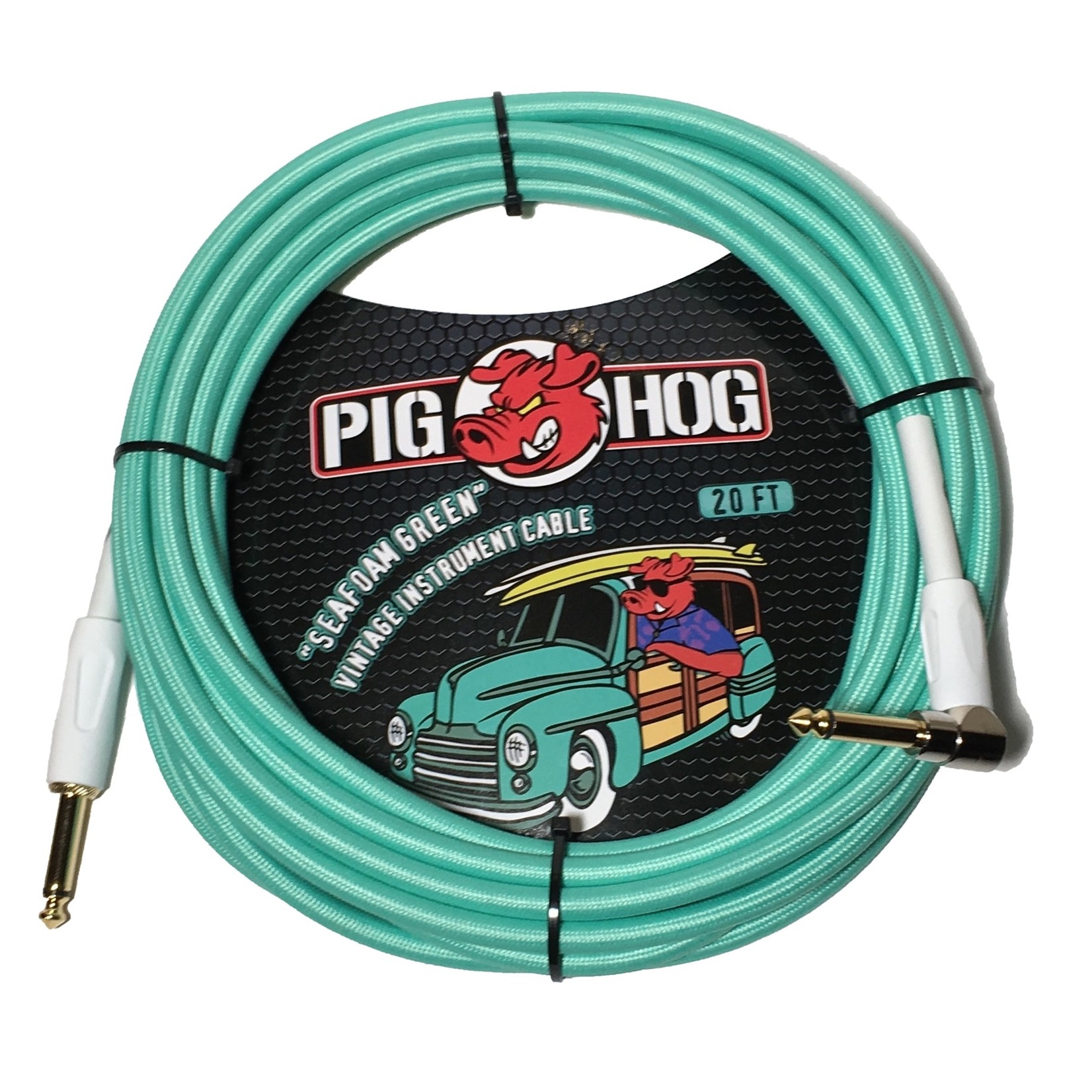 "Pig Hog Pig Hog 20-Foot ""Seafoam Green"" Vintage Instrument Cable - Right Angle (PCH20SGR)"
