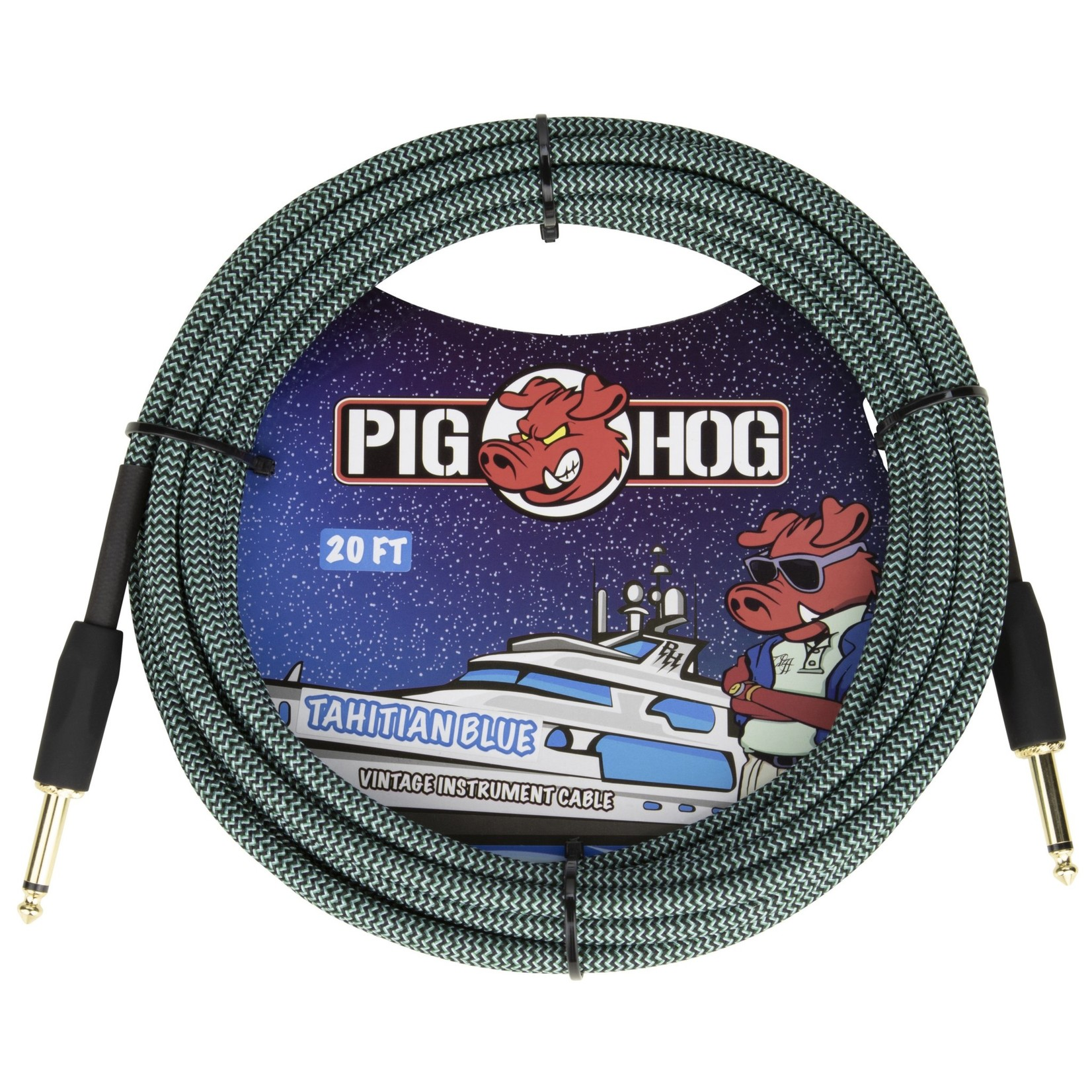 "Pig Hog Pig Hog 20-Foot Vintage Woven Instrument Cable, 1/4"" Straight-Straight, Tahitian Blue"