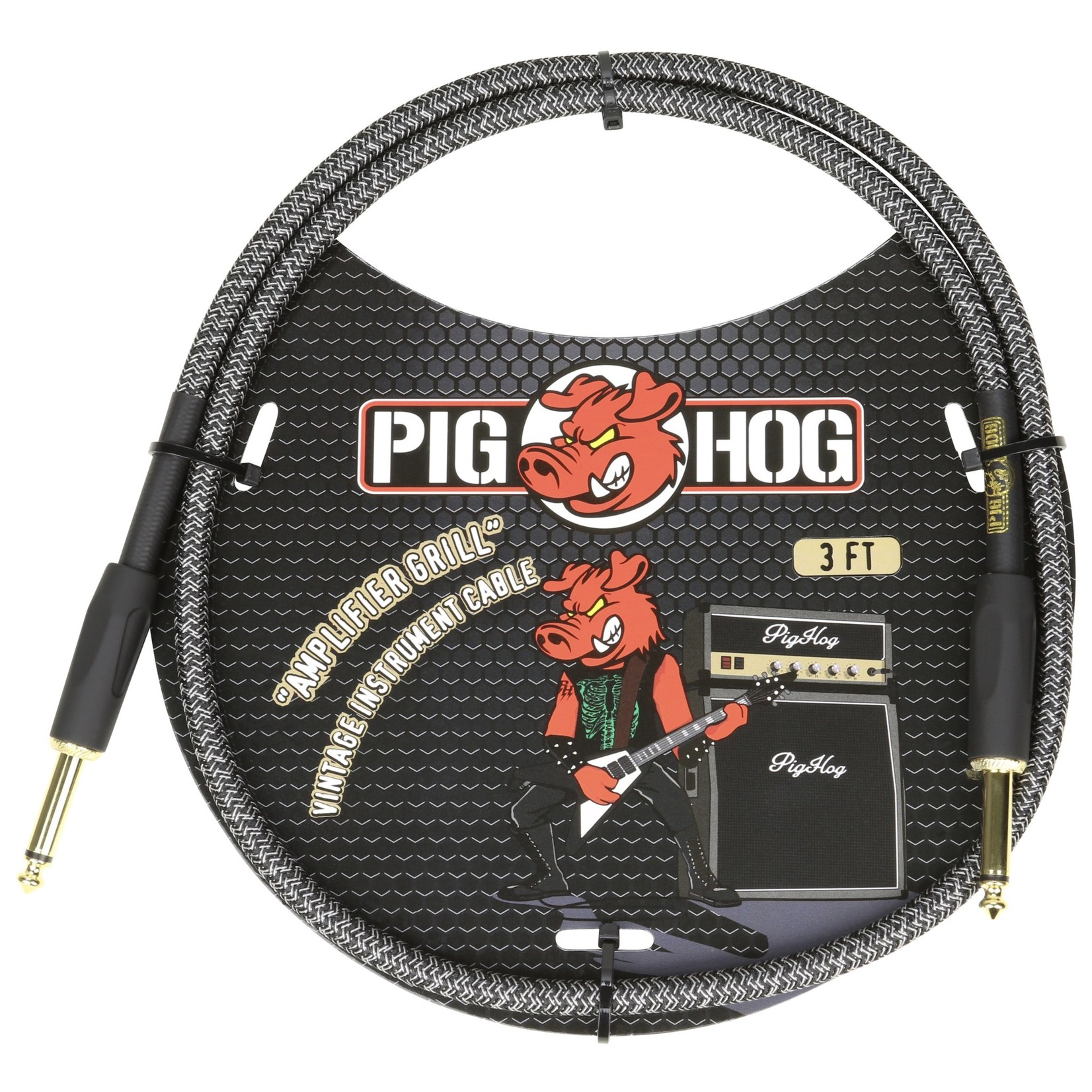 """Pig Hog Pig Hog Vintage Woven Patch Cable, 3-Foot, 7mm, 1/4"""" Straight Connectors, """"Amplifier Grill"""" (PCH3AG)"""