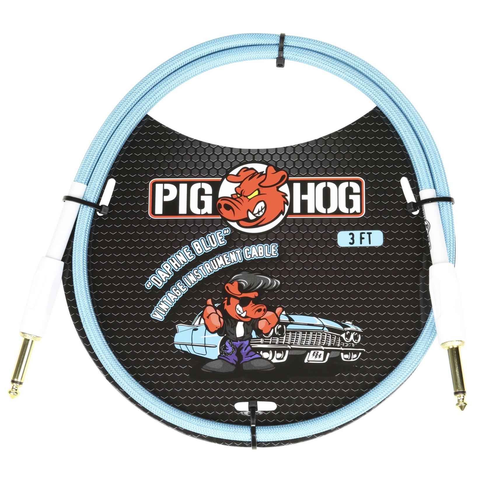 "Pig Hog Pig Hog Vintage Woven Patch Cable, 3-Foot, 7mm, 1/4"" Straight Connectors, ""Daphne Blue"" (PCH3DB)"