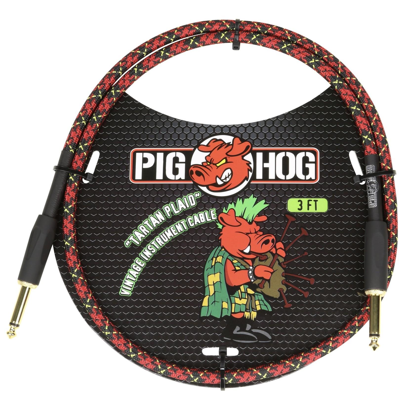 "Pig Hog Pig Hog Vintage Woven Patch Cable, 3-Foot, 7mm, 1/4"" Straight Connectors, ""Tartan Plaid"" (PCH3PL)"