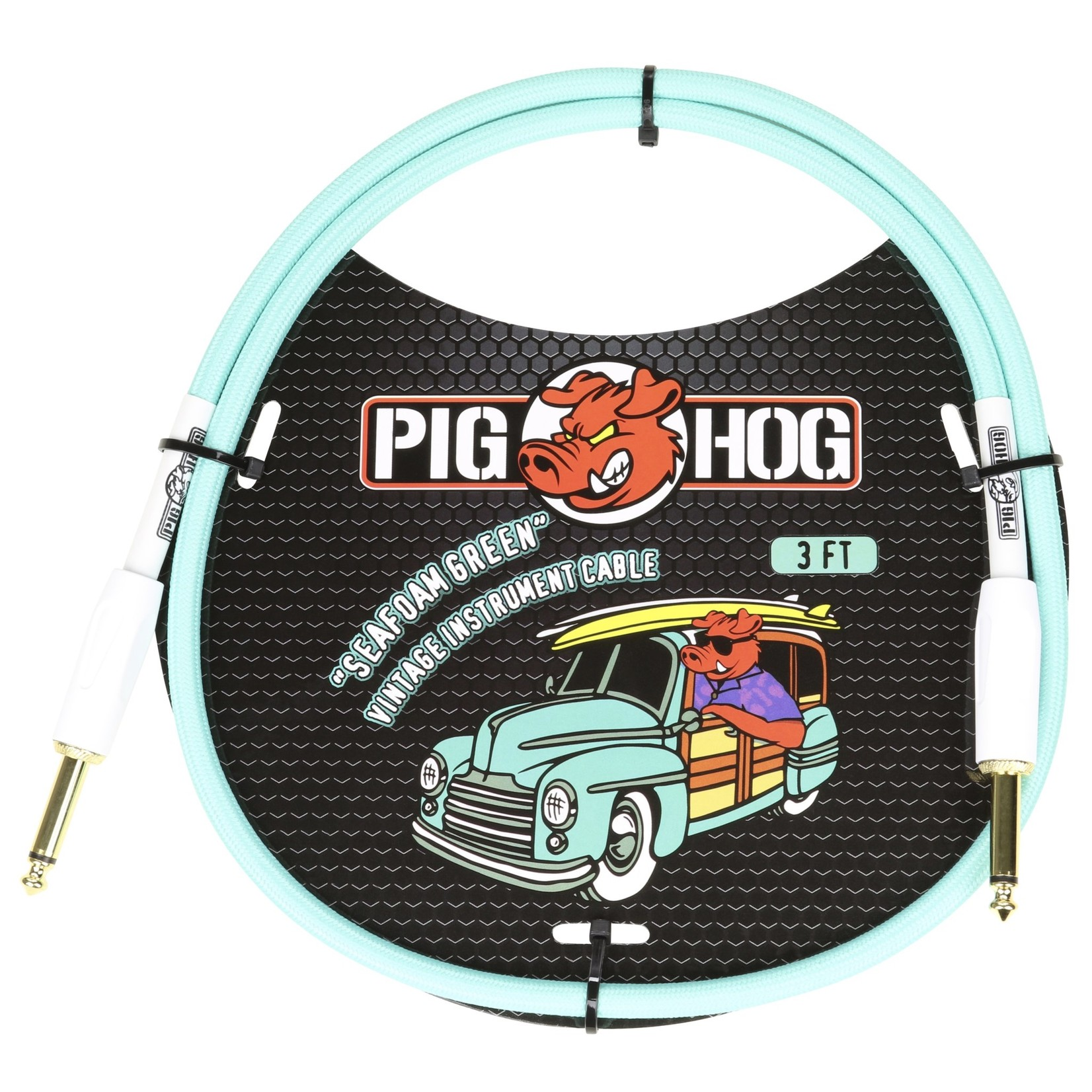 """Pig Hog Pig Hog Vintage Woven Patch Cable, 3-Foot, 7mm, 1/4"""" Straight Connectors, Seafoam Green (PCH3SG)"""