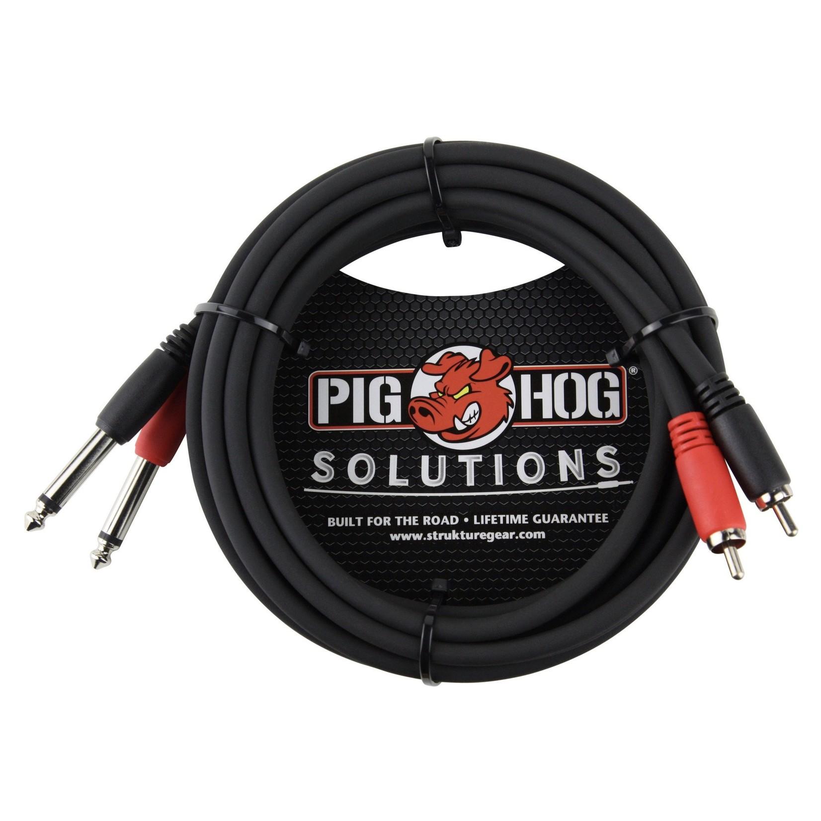 "Pig Hog Pig Hog Solutions - 10FT RCA to 1/4"" TS Dual Cable, PD-R1410"