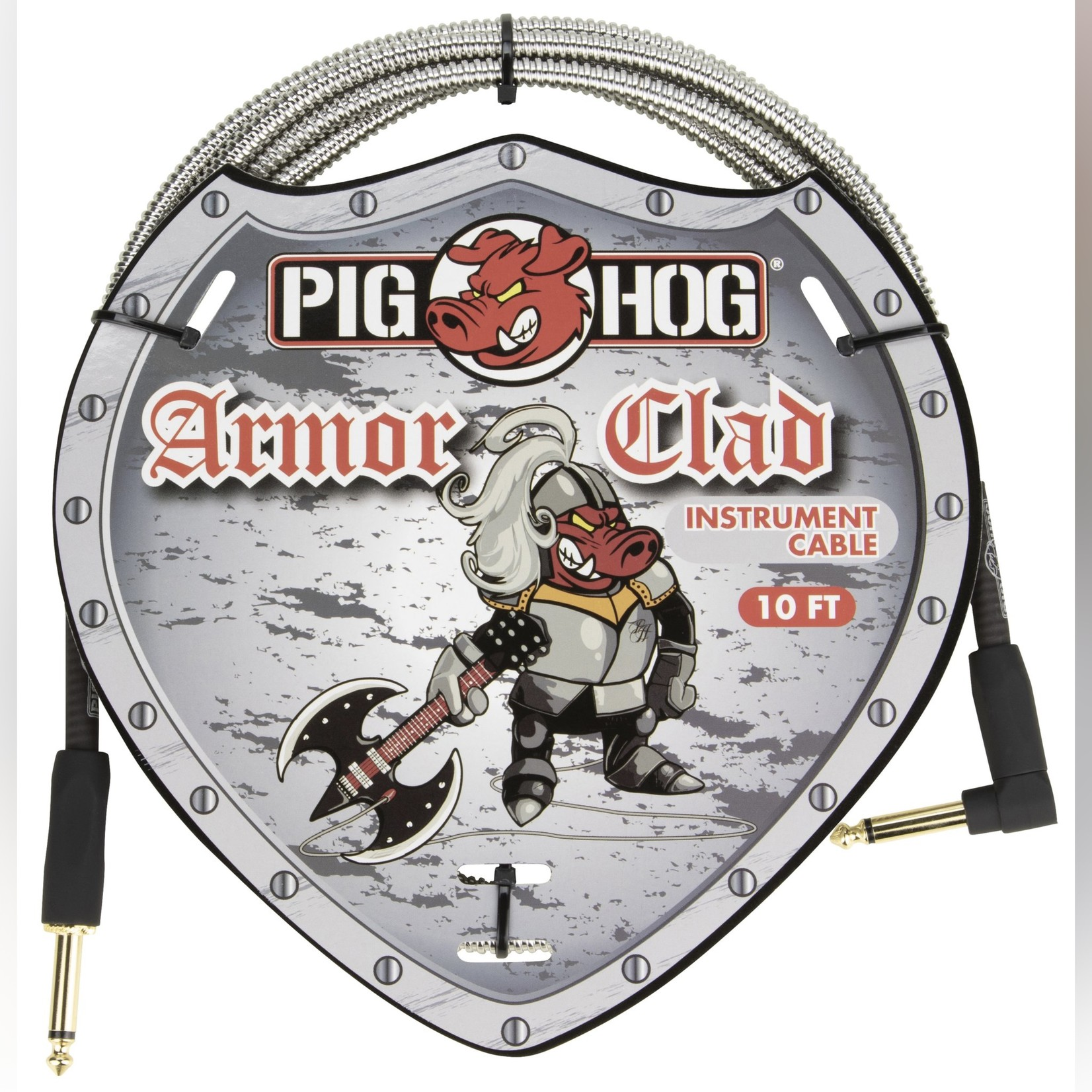 """Pig Hog Pig Hog """"Armor Clad"""" Instrument Cable, 10 Feet, 1/4""""-1/4"""" Right Angle, Industrial Look (PHAC-10R)"""