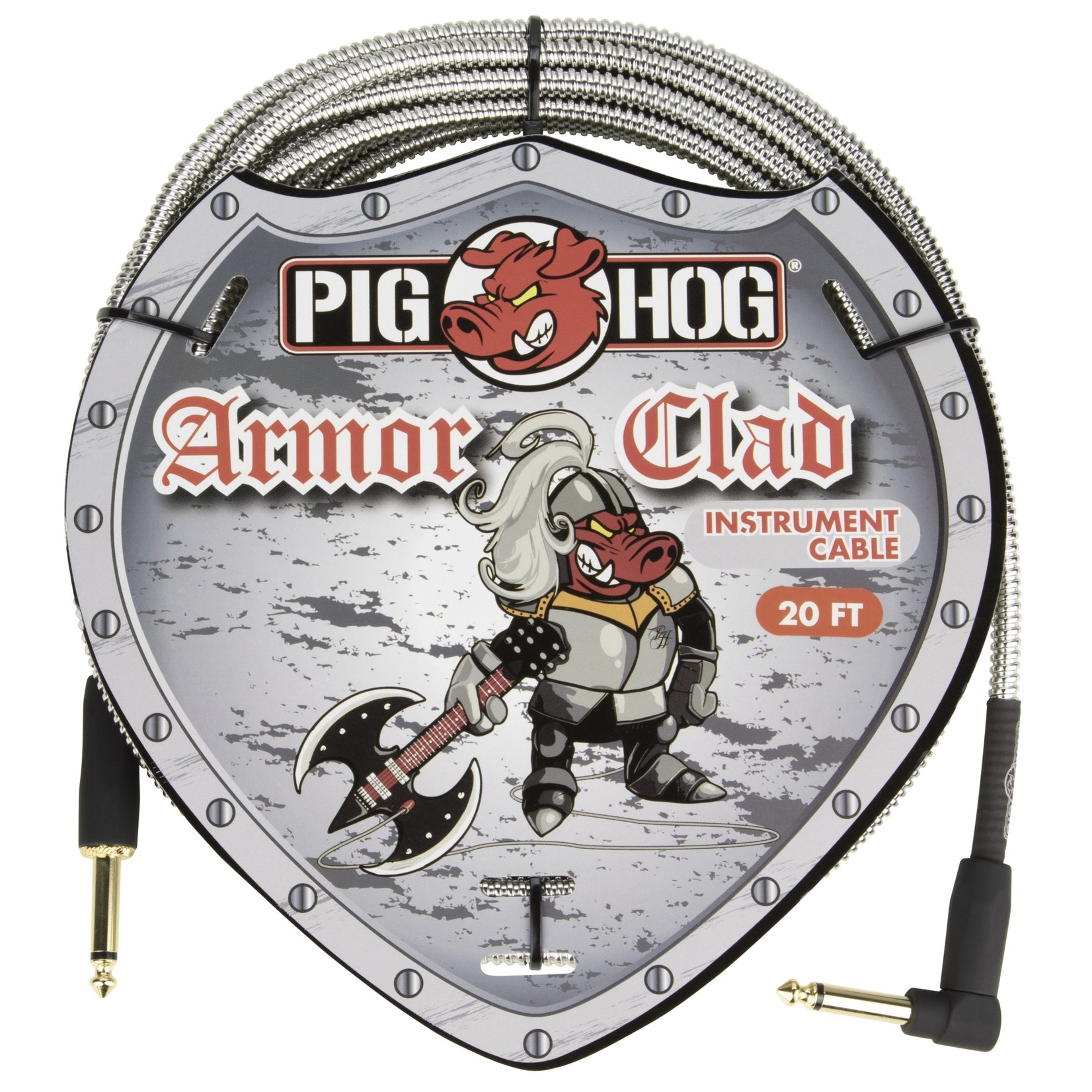 """Pig Hog Pig Hog """"Armor Clad"""" Instrument Cable, 20 Feet, 1/4""""-1/4"""" Right Angle, Industrial Look (PHAC-20R)"""