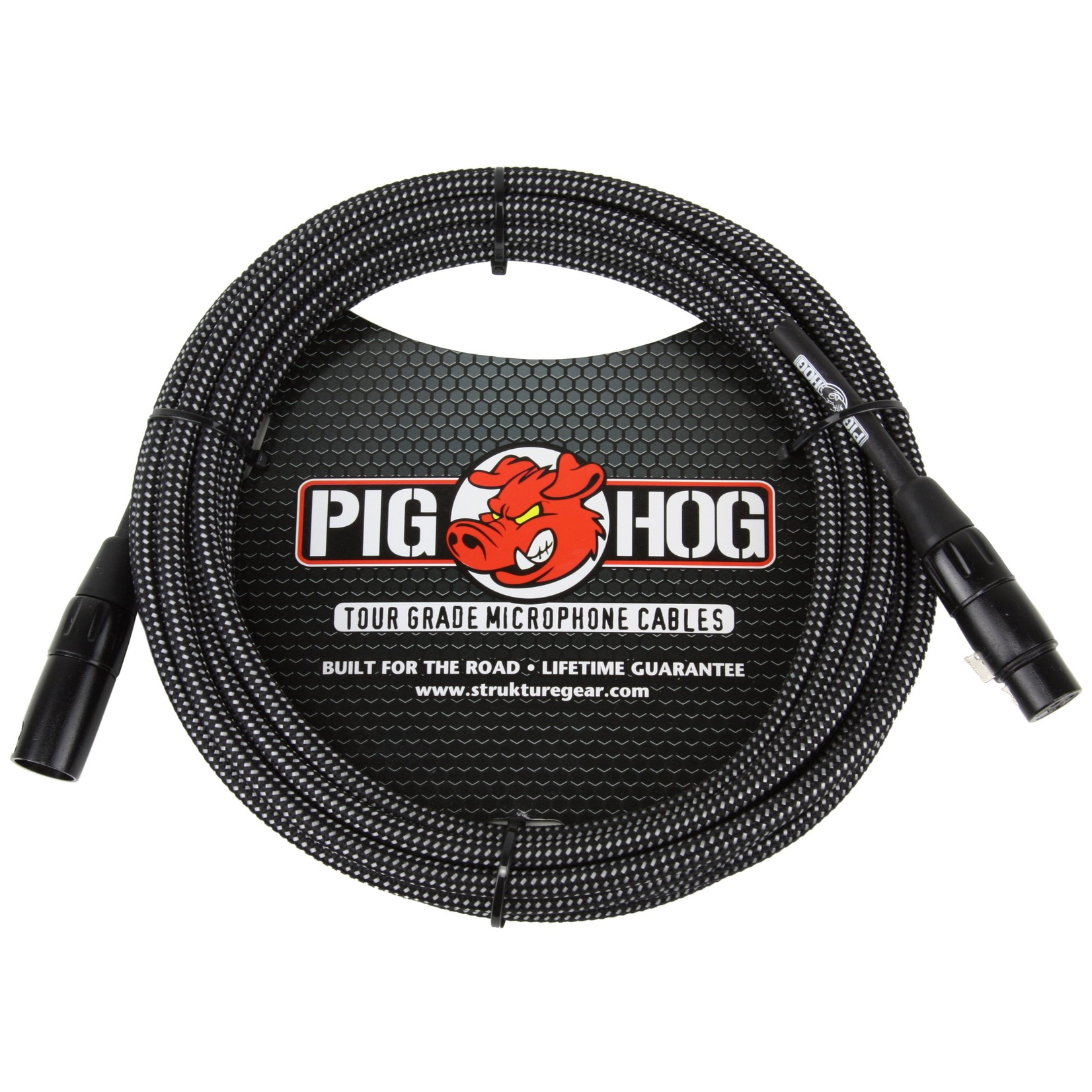 Pig Hog Pig Hog Black & White Woven Tour Grade Microphone Cable, 10ft XLR (PHM10BKW) (10-foot, 10')