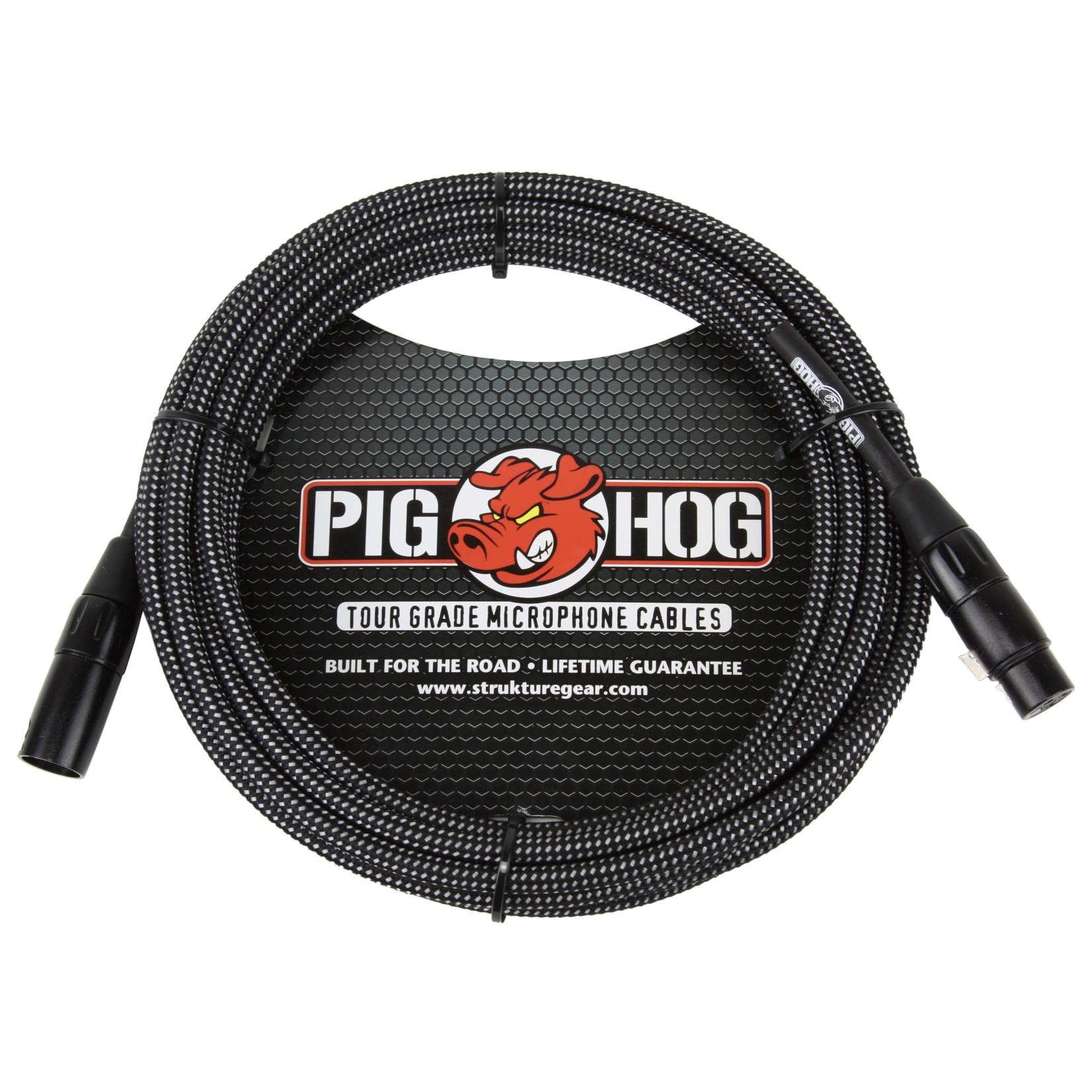 Pig Hog Pig Hog Black & White Woven Tour Grade Mic Cable, 30ft XLR
