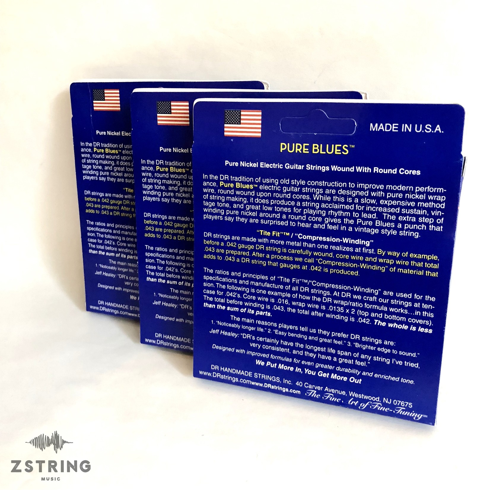 DR Strings 3x (three packs) DR PHR-11 Pure Blues 11-50 Electric Guitar Strings Vintage Pure Nickel / Round Core