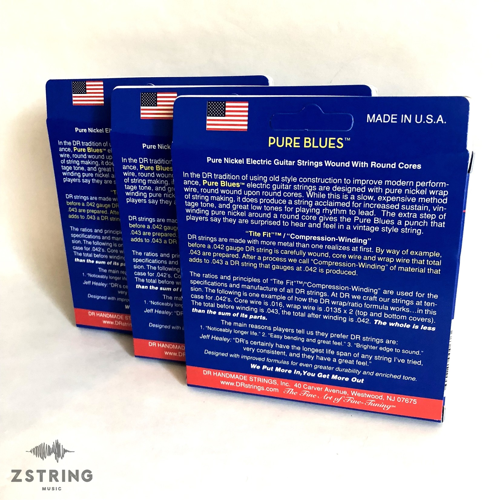 DR Strings 3x (three packs) DR PHR-9 Pure Blues 9-42 Electric Guitar Strings Vintage Pure Nickel / Round Core