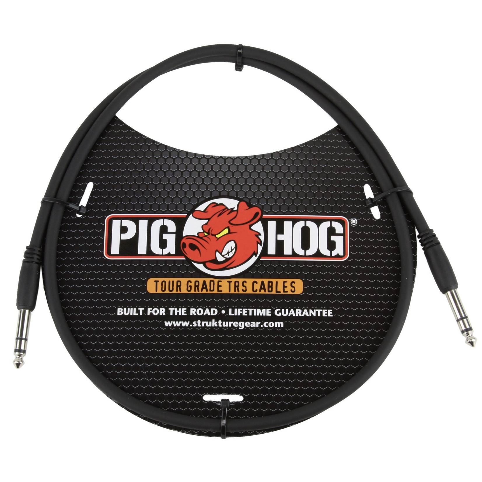 """Pig Hog Pig Hog Tour Grade 3-foot, 8mm, balanced 1/4"""" TRS - 1/4"""" TRS Cable, Black"""