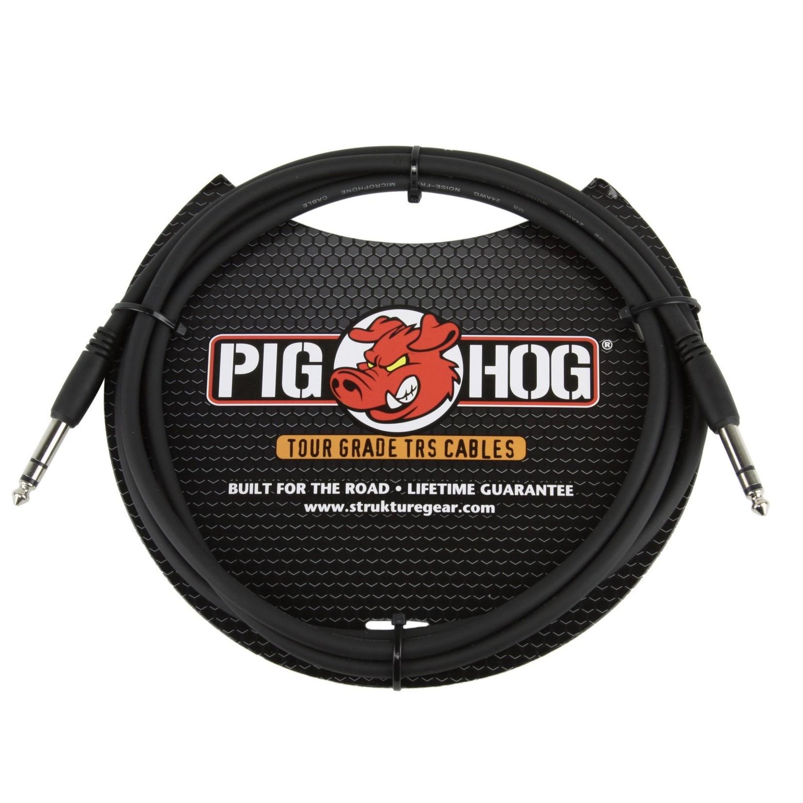 """Pig Hog Pig Hog Tour Grade 6-foot, 8mm, balanced 1/4"""" TRS - 1/4"""" TRS Cable, Black (PTRS06)"""