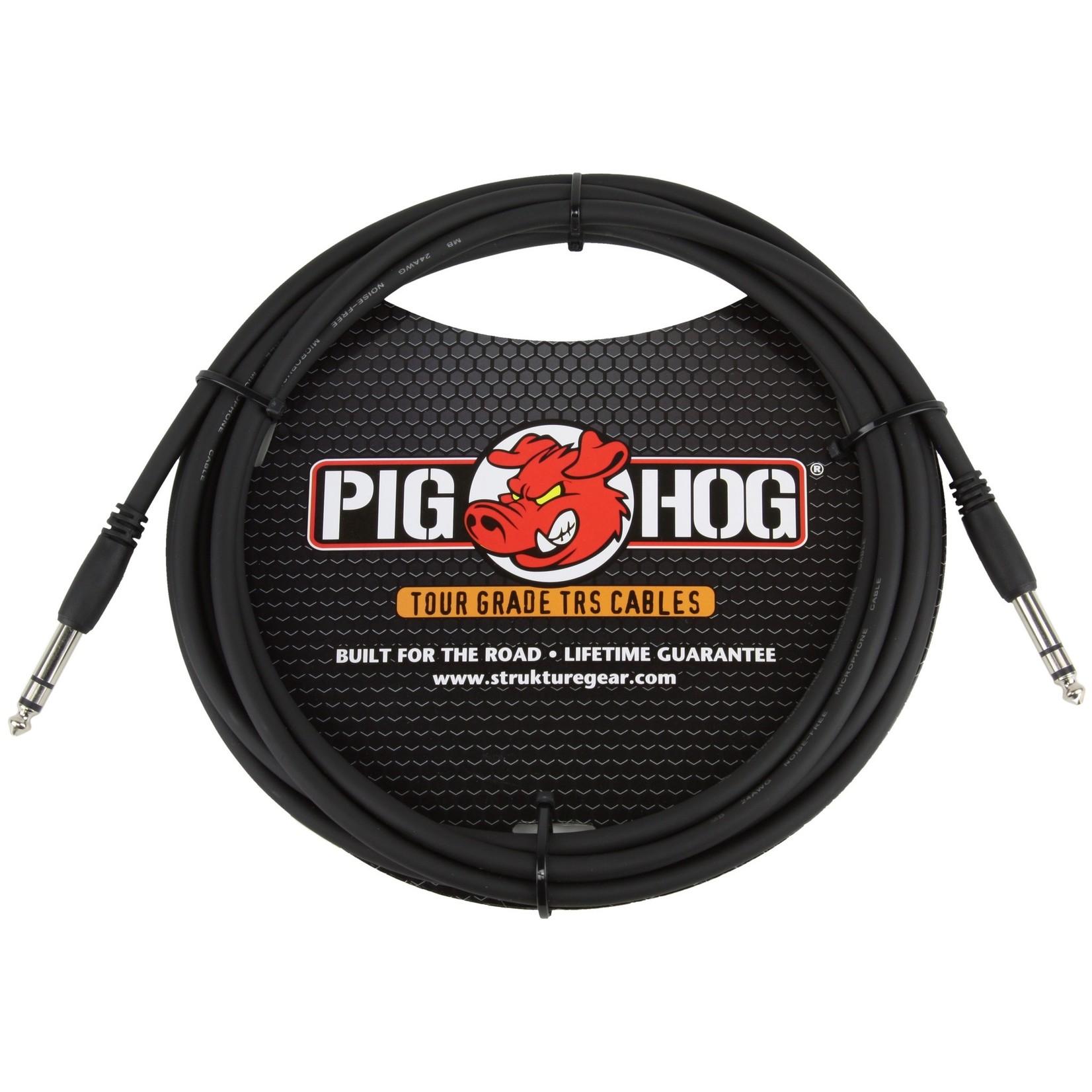 """Pig Hog Pig Hog Tour Grade 10ft, 8mm, 1/4"""" TRS - 1/4"""" TRS Cable (PTRS10), Black"""