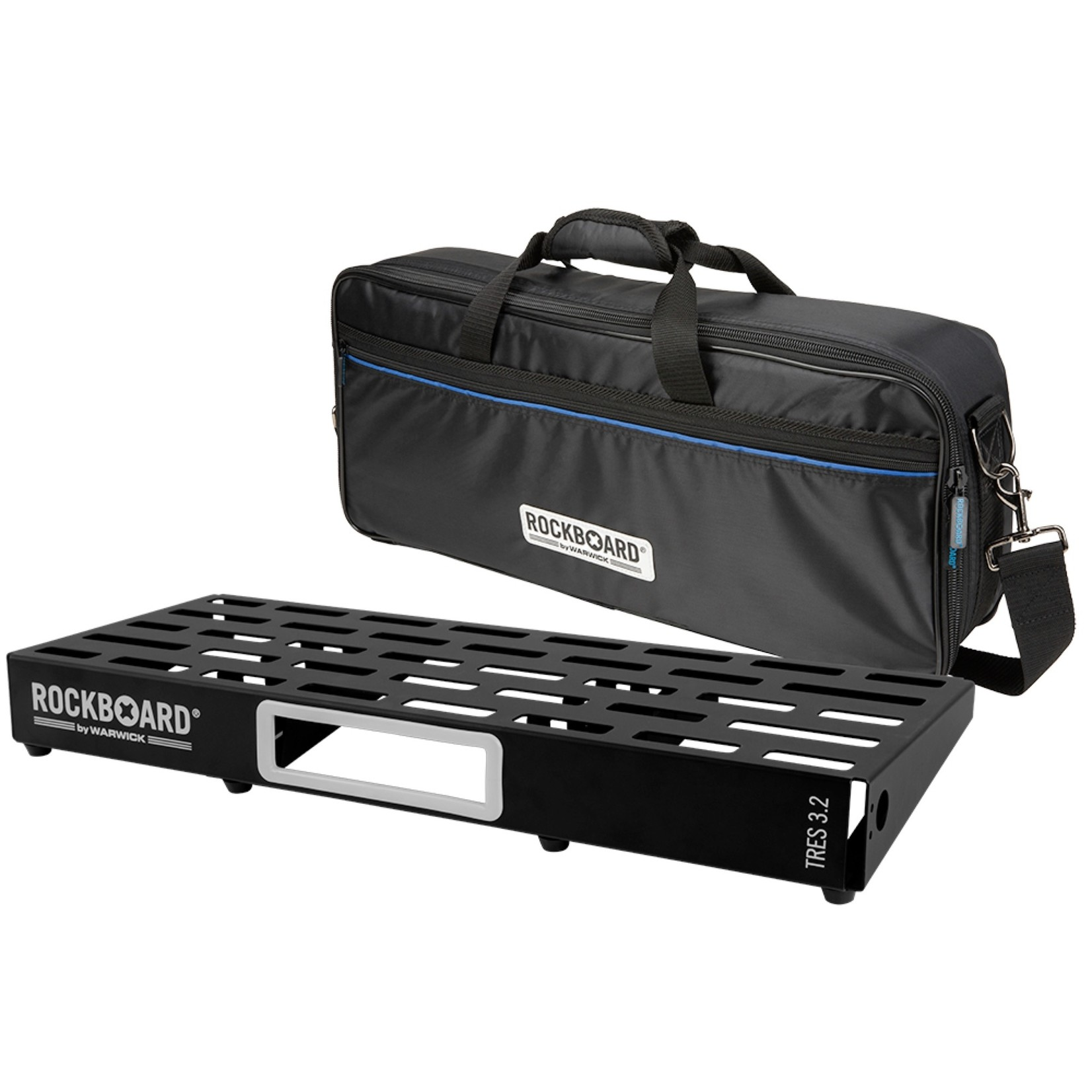"""Rockboard RockBoard TRES 3.2, Pedalboard with Gig Bag, for 7-12 Effects Pedals (approx. 23.5"""" x 9.3"""")"""