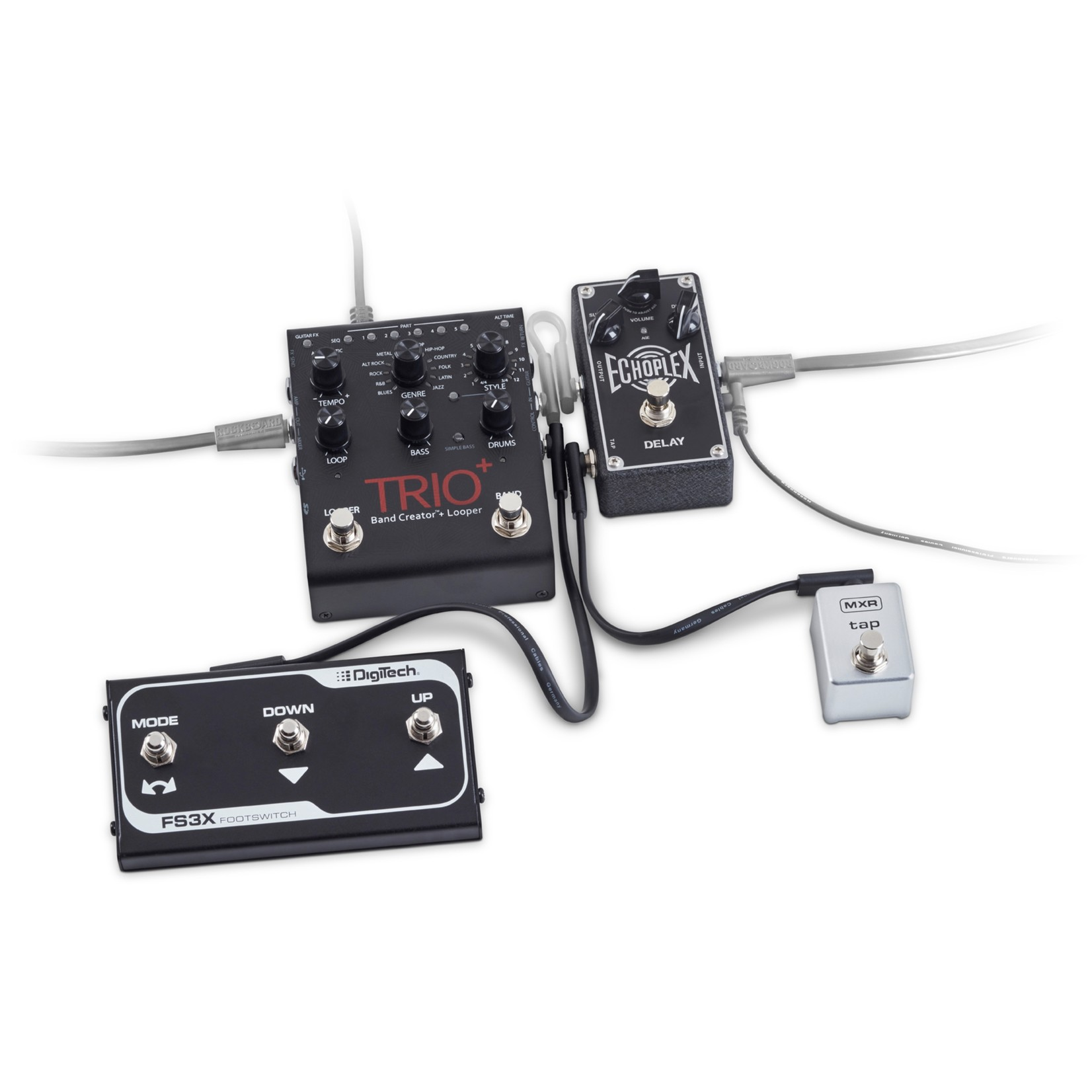 """Rockboard Rockboard Flat Patch TRS Cable, 30 cm / 11.81"""", Black, low profile, for switch & expression pedals"""