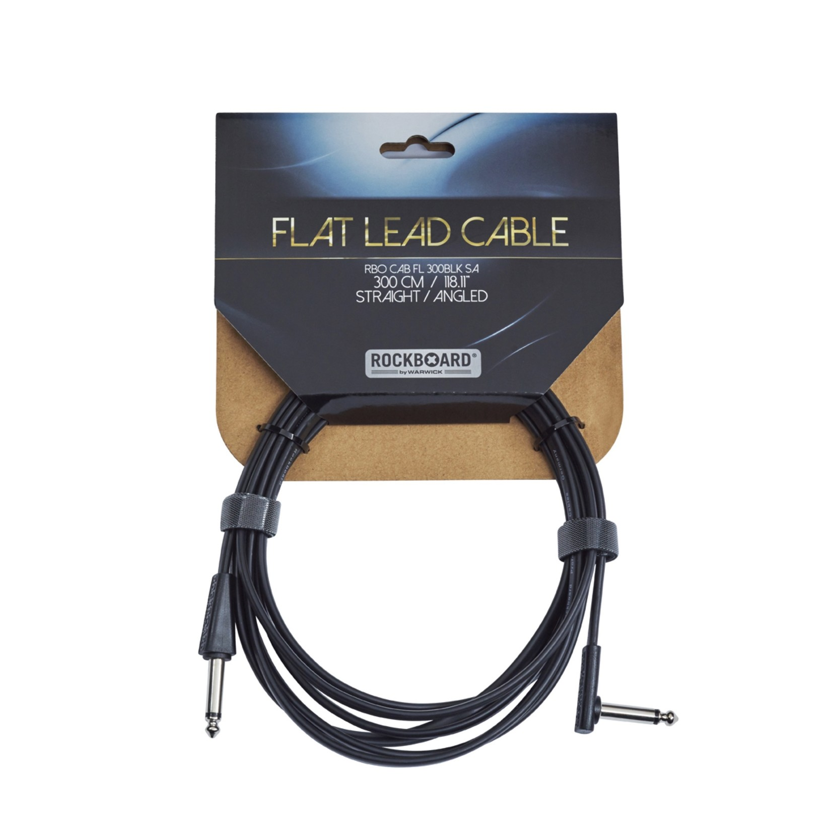 """Rockboard Rockboard Flat Lead (Instrument) Cable - 300 cm / 118.11"""" (~10 ft) - 1/4"""" Straight to Right Angle"""