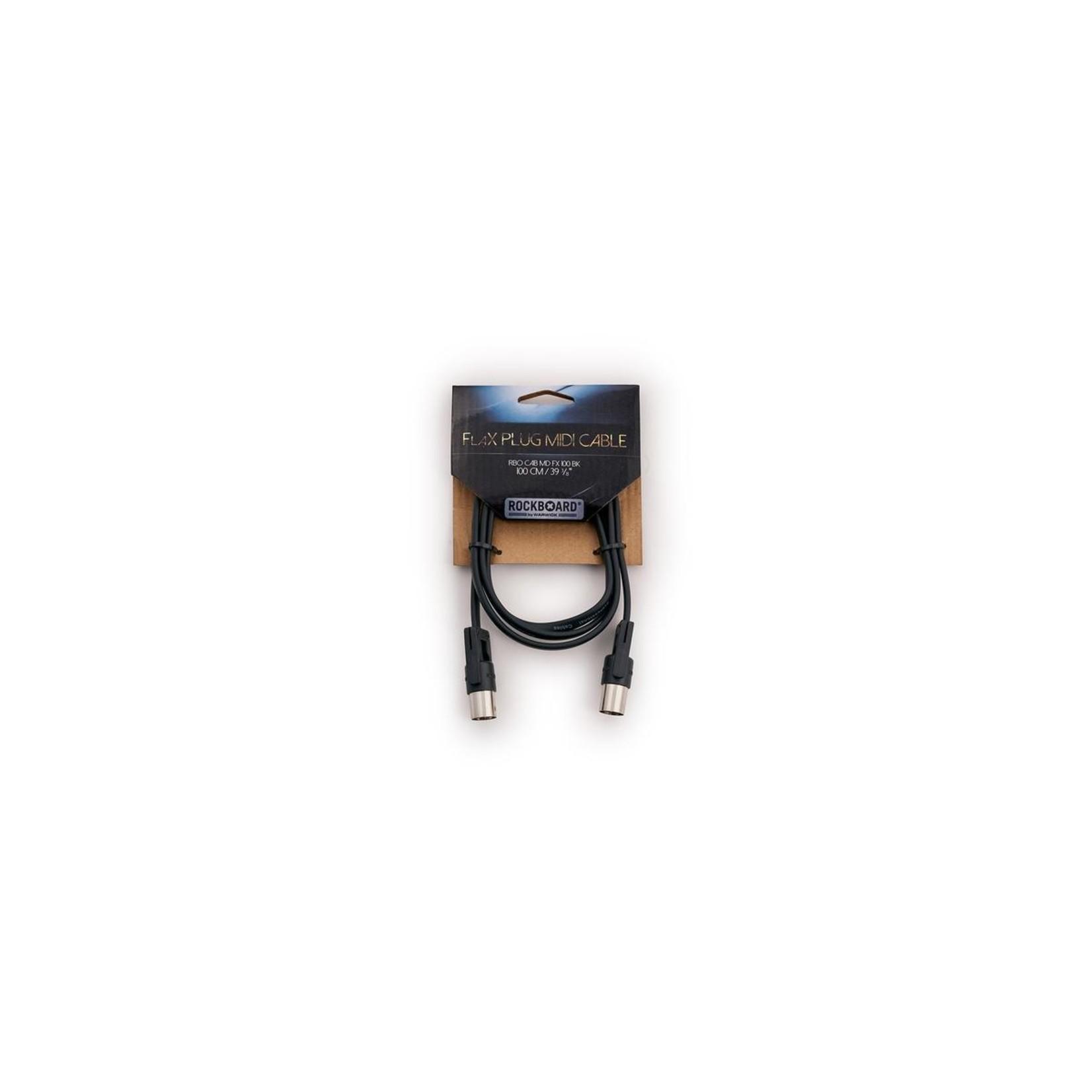 "Rockboard Rockboard FlaX Plug 100cm (39 3/8"") flat MIDI Cable - right angle or straight (RBO CAB MD FX 100 BK)"