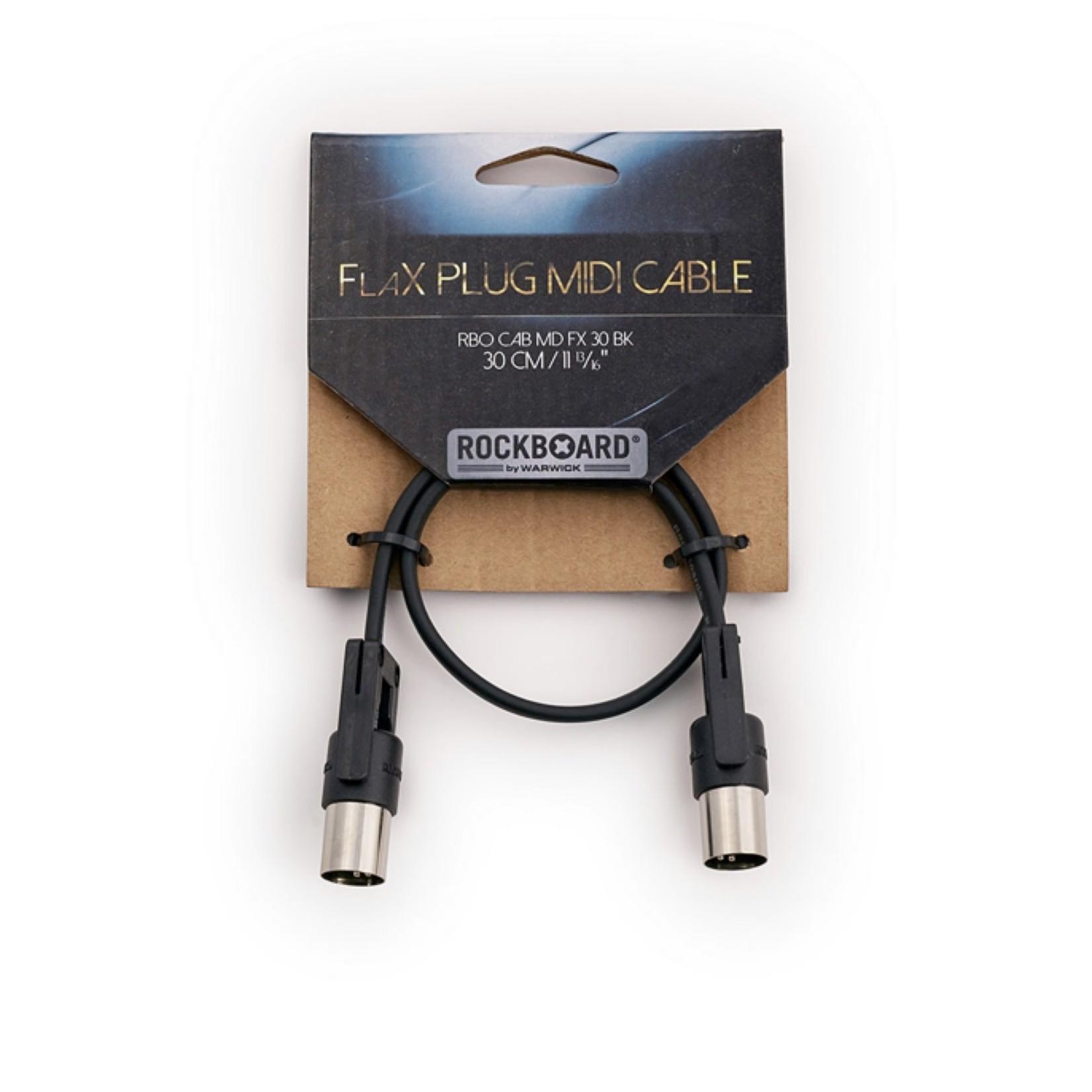 "Rockboard Rockboard FlaX Plug 30cm (11 13/16"") flat MIDI Cable - angle or straight (RBO CAB MD FX 30 BK)"