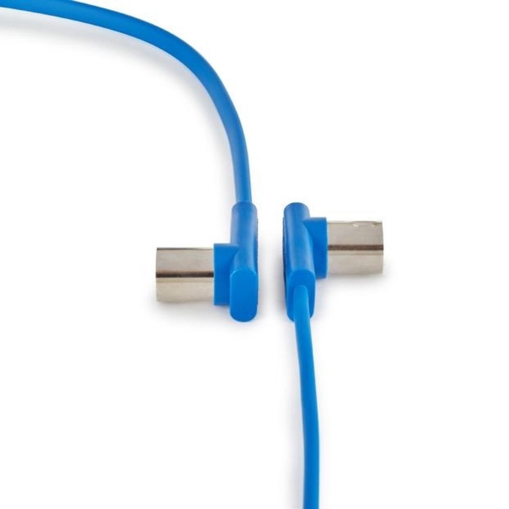 "Rockboard Rockboard Flat MIDI Cable - 30 cm (11 13/16""), Blue, Angled Plugs"