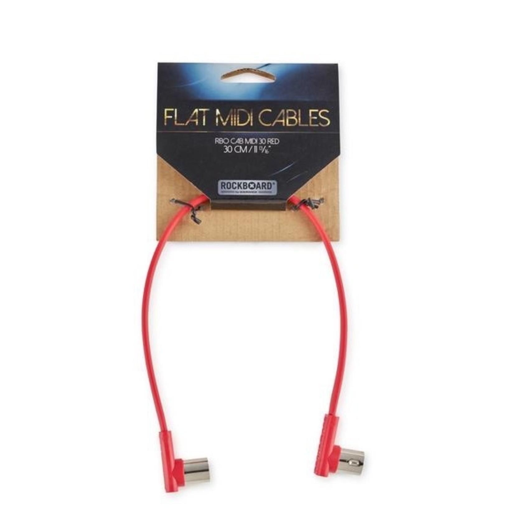 """Rockboard Rockboard Flat MIDI Cable - 30 cm (11 13/16""""), Red , Angled Plugs"""