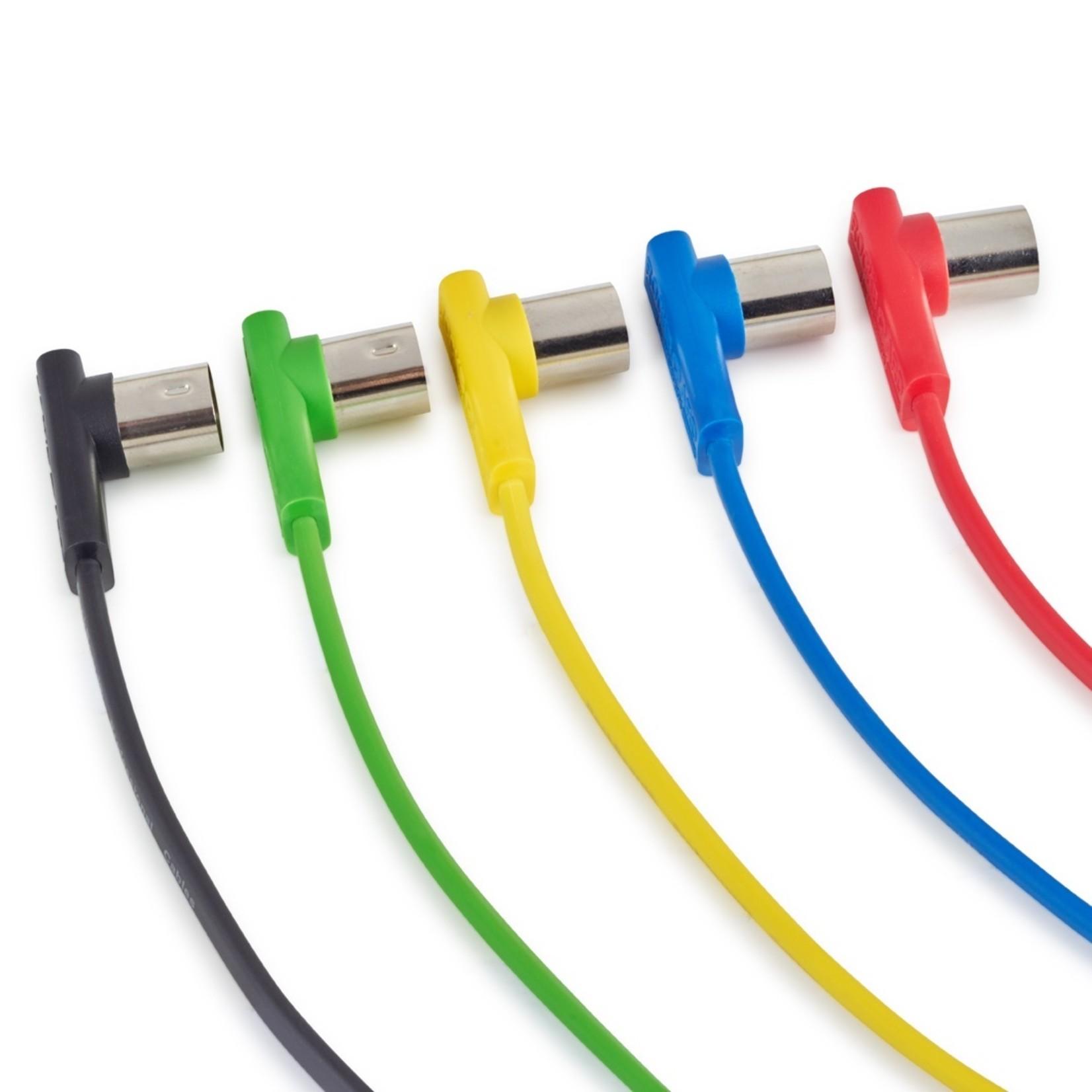 """Rockboard Rockboard Flat MIDI Cable - 30 cm (11 13/16""""), Yellow,  Angled Plugs"""