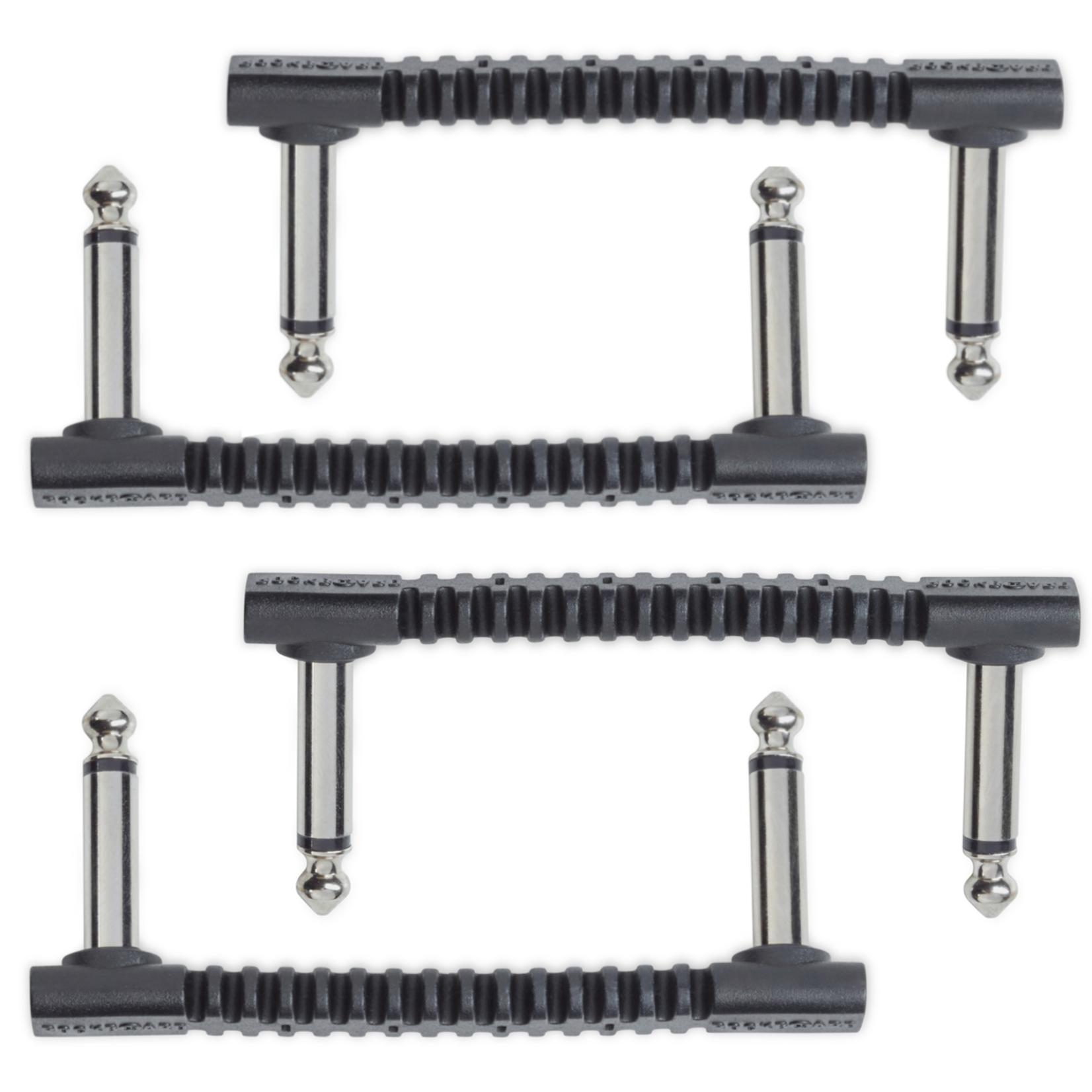 "Rockboard RockBoard 4x (set of four) ""Benders"" Flat Patch Cable Connectors 2.93"", Black"