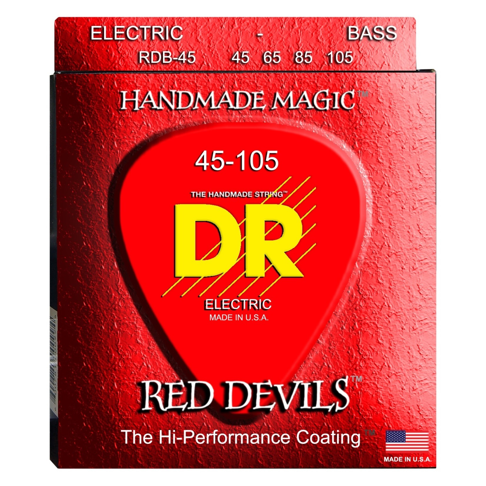 DR Strings DR Strings RDB-45 Red Devils K3 Coated Electric Bass Strings, Red, 4-String Set (45-105)