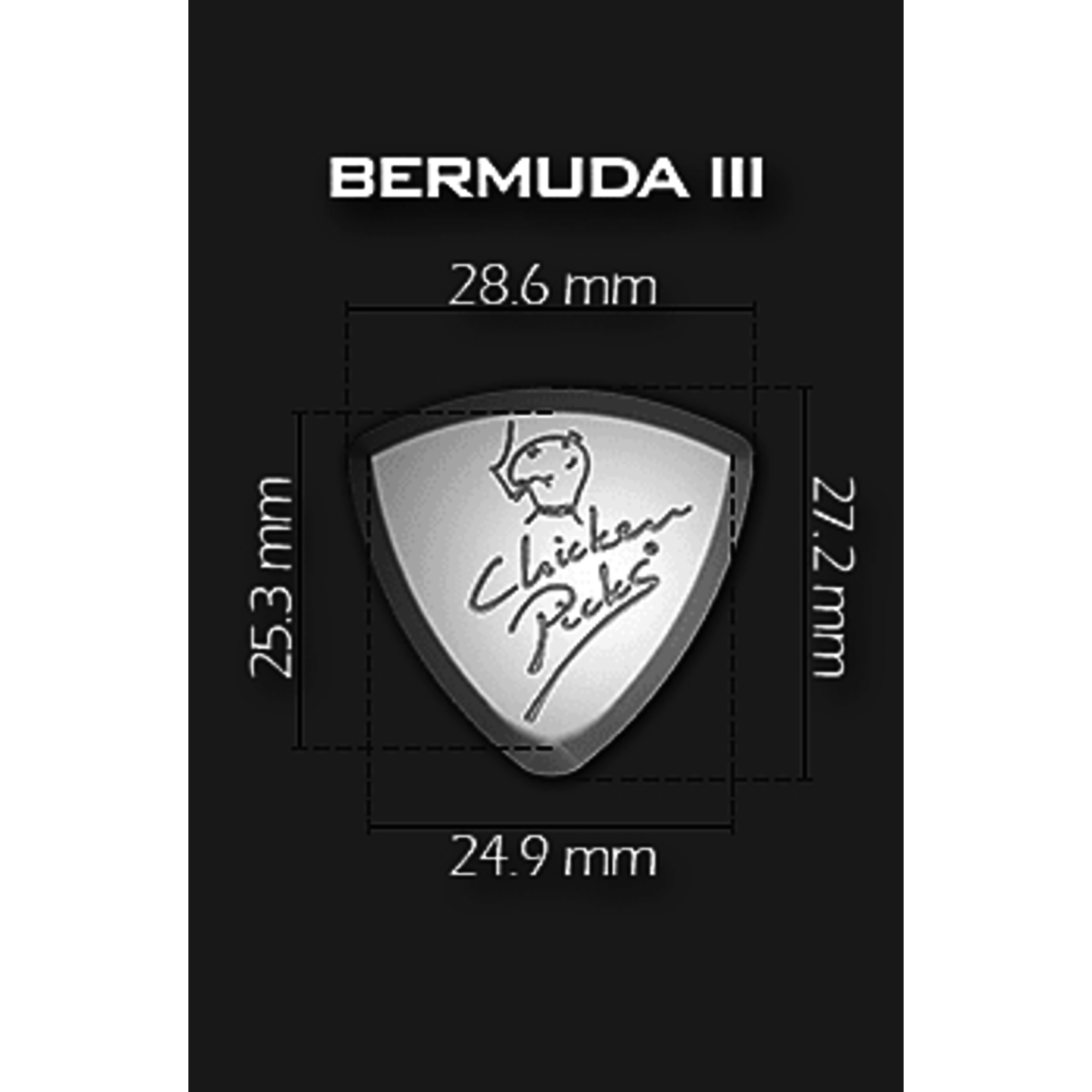 "ChickenPicks Guitar Picks ChickenPicks 5x (five) ""Bermuda III"" 2.1mm - Ultimate tone, performance, control (Chicken Picks)"