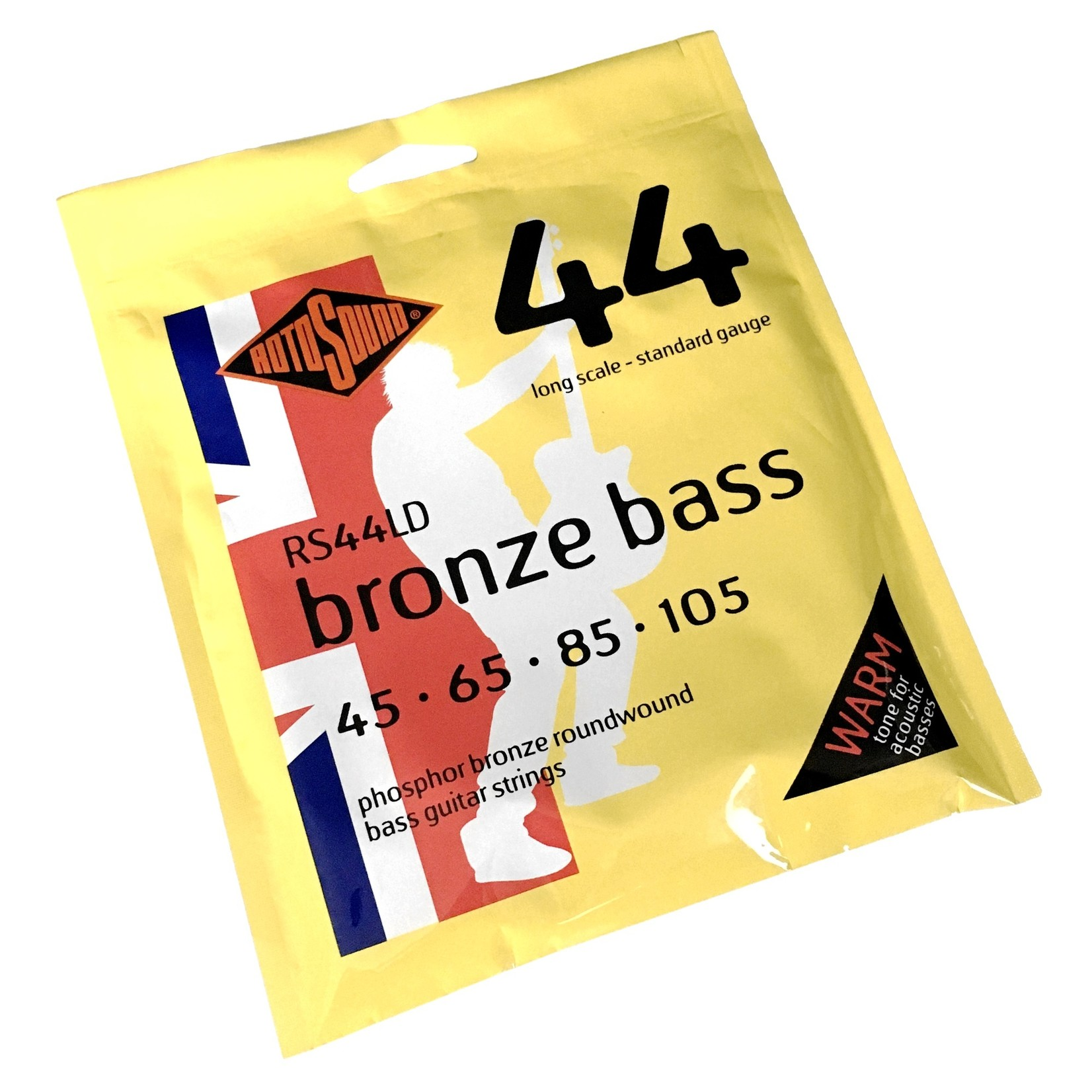 Rotosound Rotosound RS44LD 44 Bronze Bass, Phosphor Bronze Roundwound Bass Guitar Strings (45-105), Acoustic