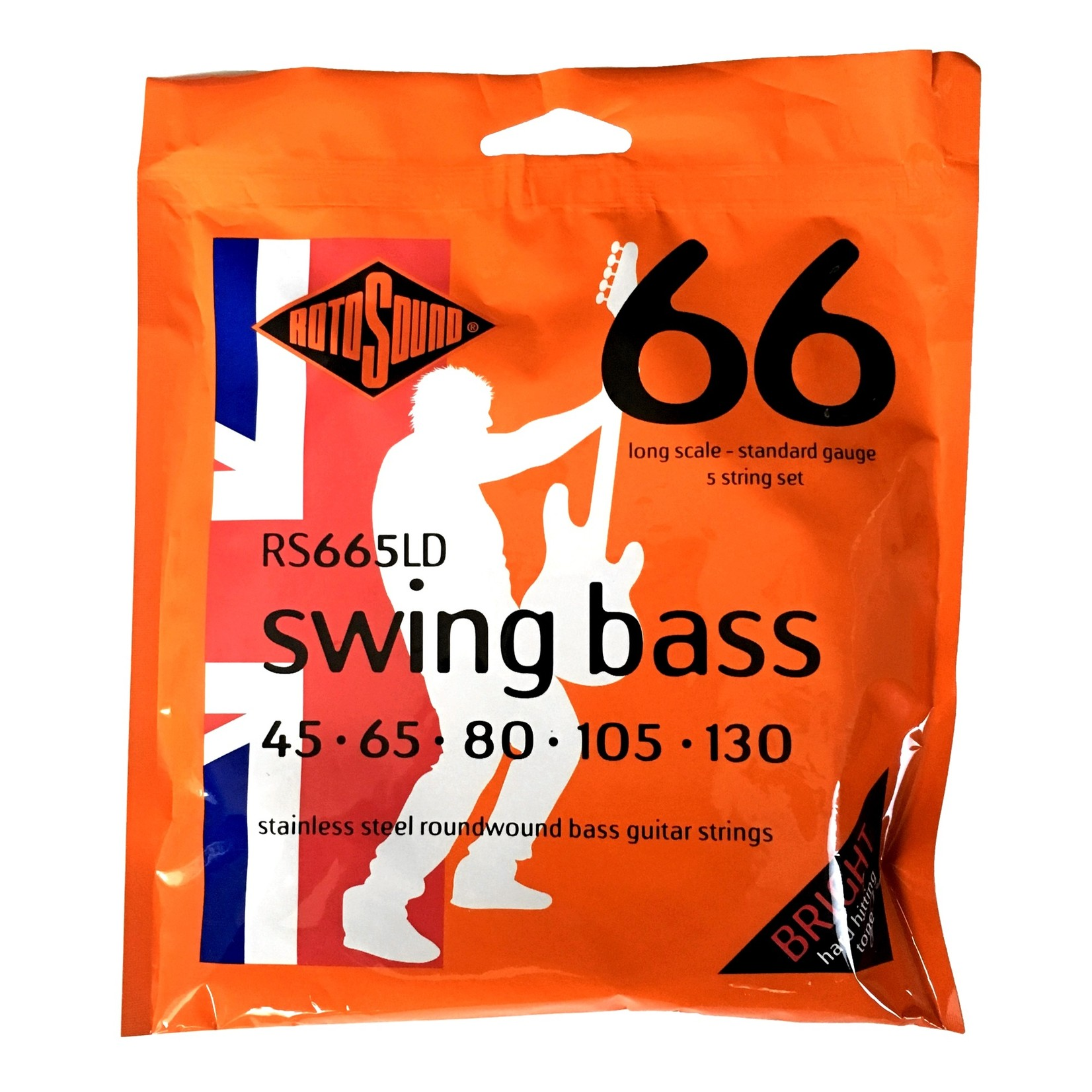 Rotosound Rotosound RS665LD Swing Bass 66 5-String (45-130), Stainless Steel Roundwound Strings