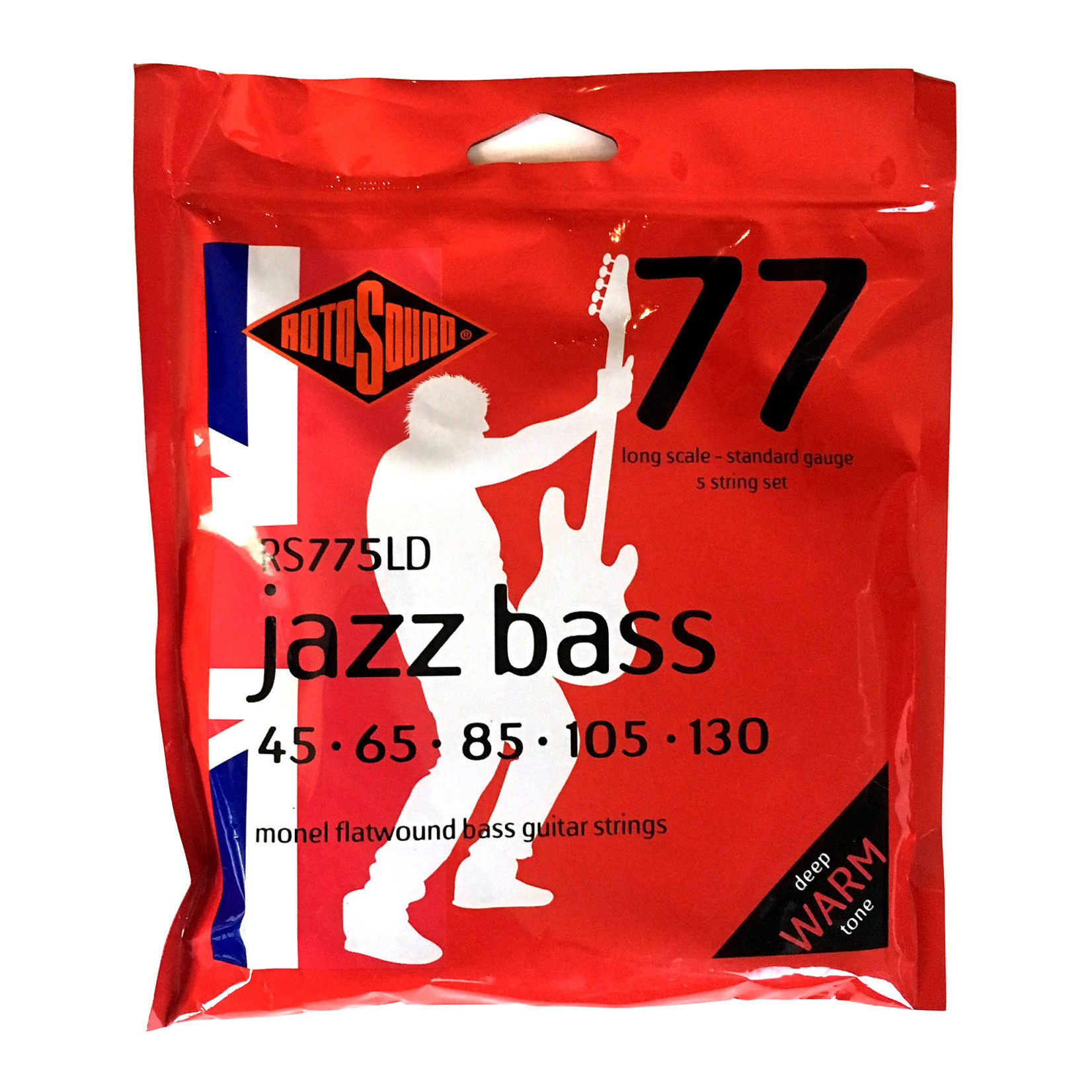 Rotosound Rotosound RS775LD Jazz 77 Bass Monel Flatwound 5-String Bass Guitar Strings (45-130)