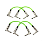 """Strukture Strukture Set of Four (4) UFO Green (Neon, Bright Lime) Woven 6"""" Patch Cables, Pedalboard Makeover!"""