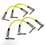 "Strukture Strukture Set of Four (4) Hi-Viz Neon Yellow Woven 6"" Patch Cables, Pedalboard Makeover!"