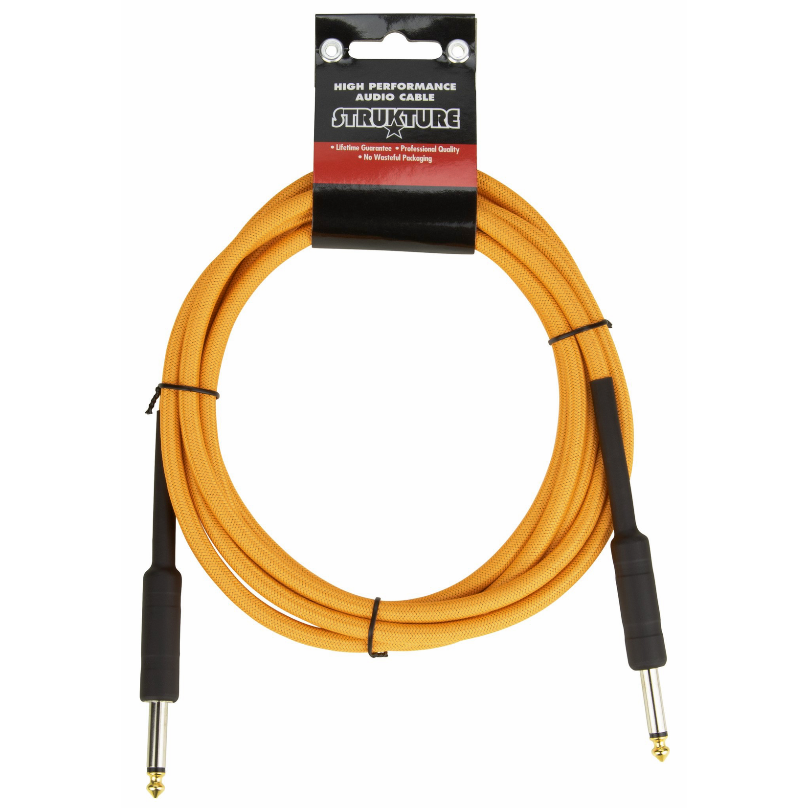 """Strukture Strukture 10ft Instrument Cable, 6mm Woven, 1/4"""" TS Straight Plugs, Electric Sunset Neon Orange"""