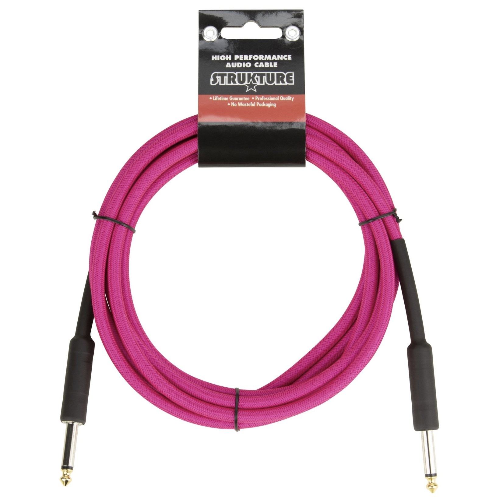 """Strukture Strukture 10ft Instrument Cable, 6mm Woven, 1/4"""" TS Straight Plugs, Manic Magenta (Hot Neon Pink)"""
