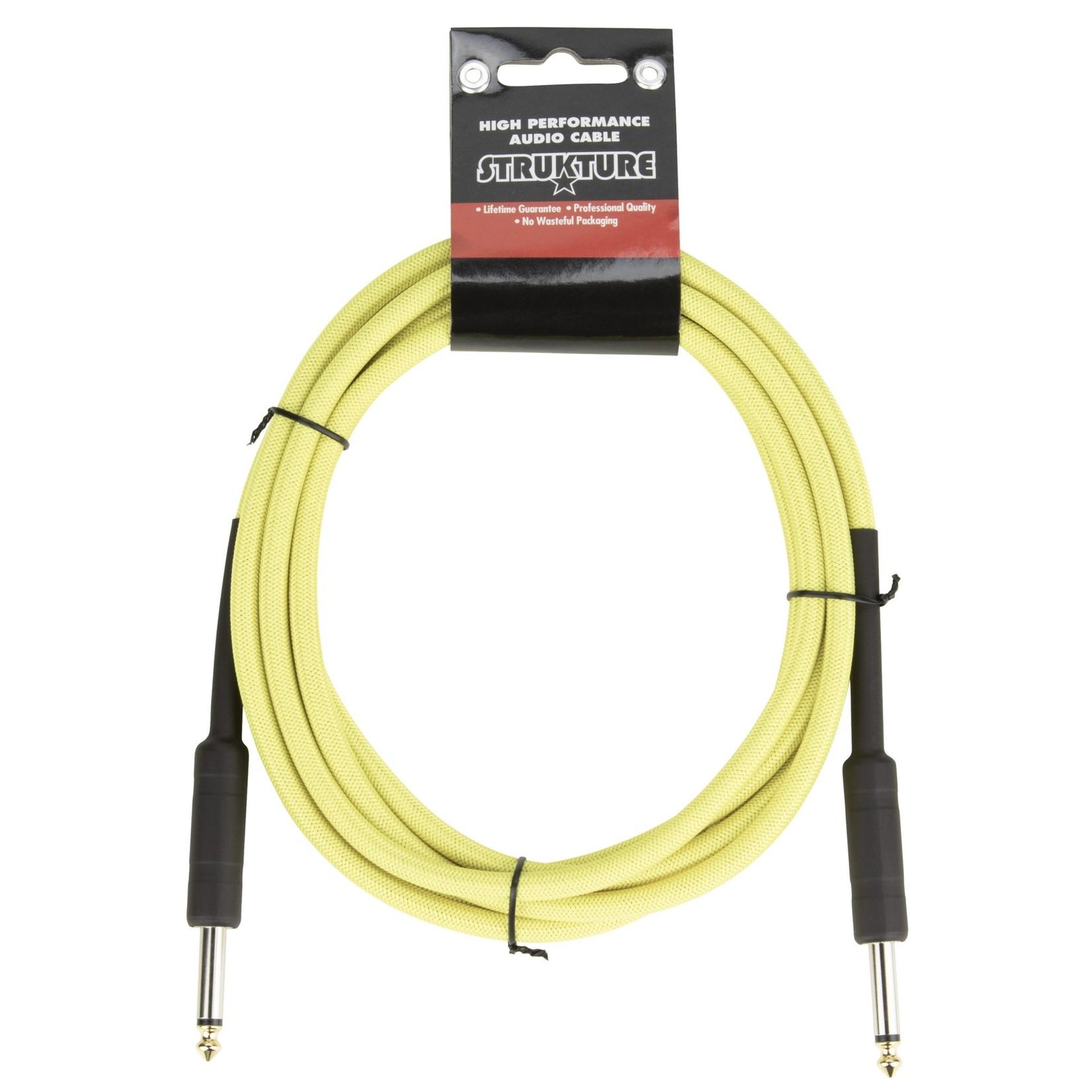 "Strukture Strukture 10ft Instrument Cable, 6mm Woven, 1/4"" TS Straight Plugs, Hi-Viz Neon Yellow"