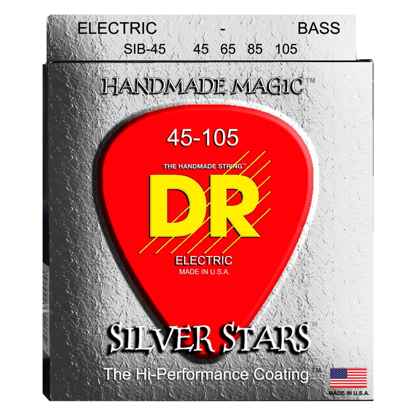 DR Strings DR Strings SIB-45 Silver Stars K3 Coated Electric Bass Strings, Silver, 4-String Set (45-105)